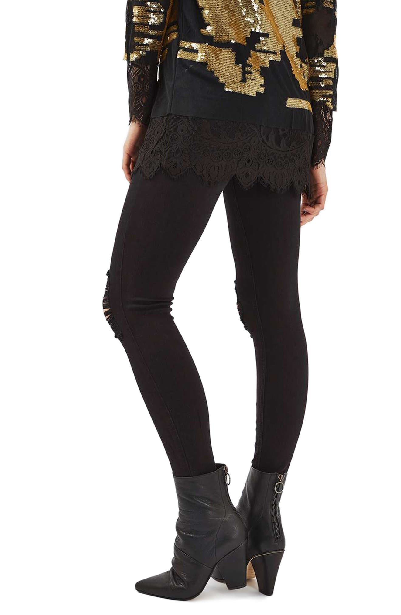 TOPSHOP,                             Ripped High Waist Ankle Skinny Jeans,                             Alternate thumbnail 3, color,                             001