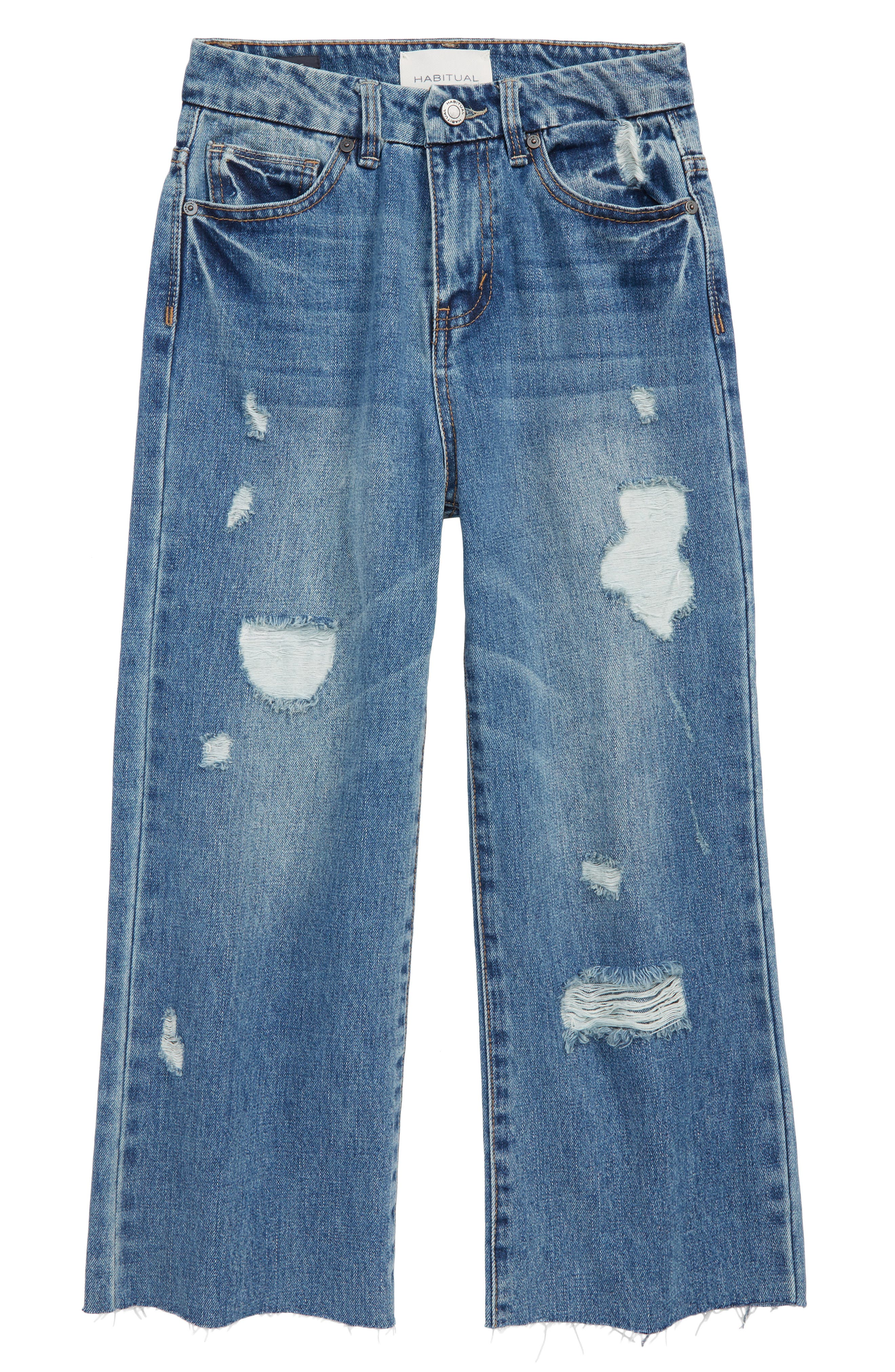High Rise Wide Leg Crop Jeans,                             Main thumbnail 1, color,                             MED STONE