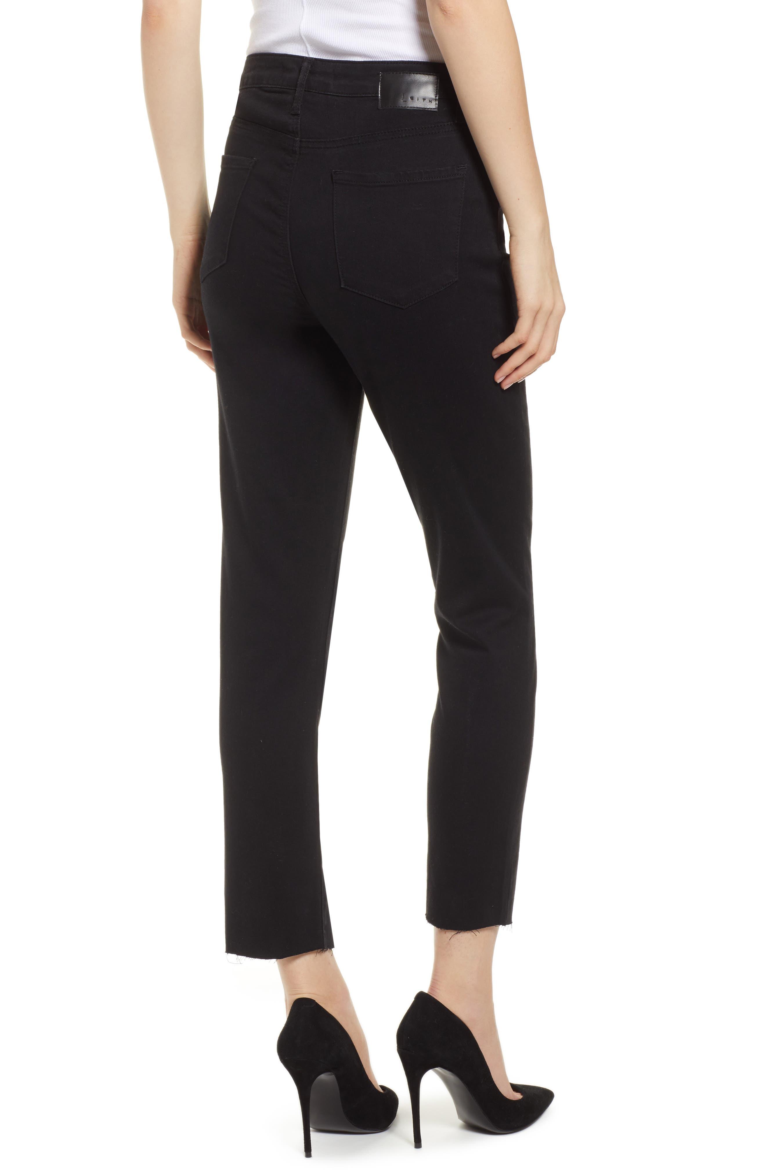 LEITH,                             High Waist Split Hem Skinny Jeans,                             Alternate thumbnail 2, color,                             001