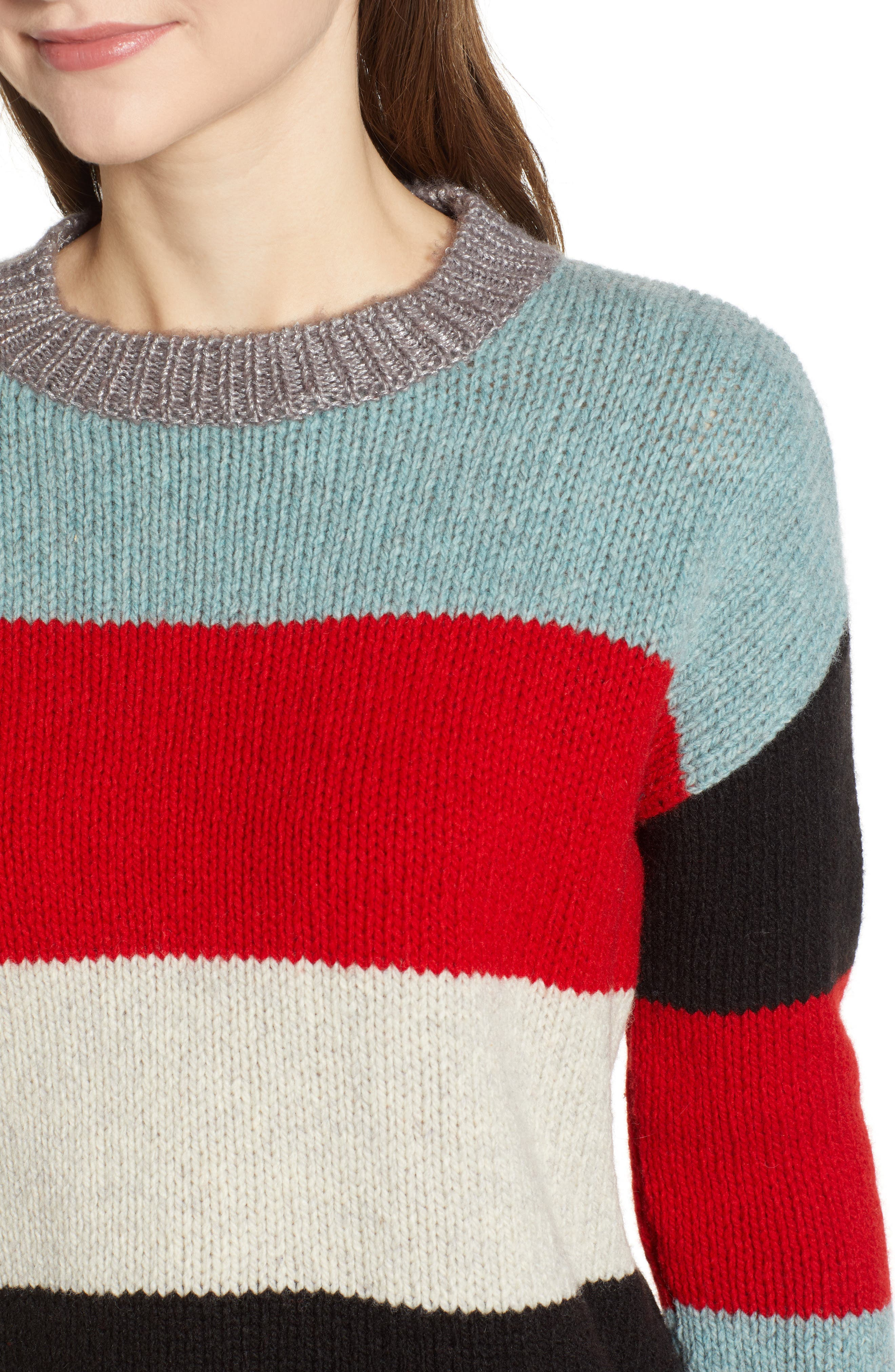 Stripe Crop Sweater,                             Alternate thumbnail 4, color,                             MULTICOLOR