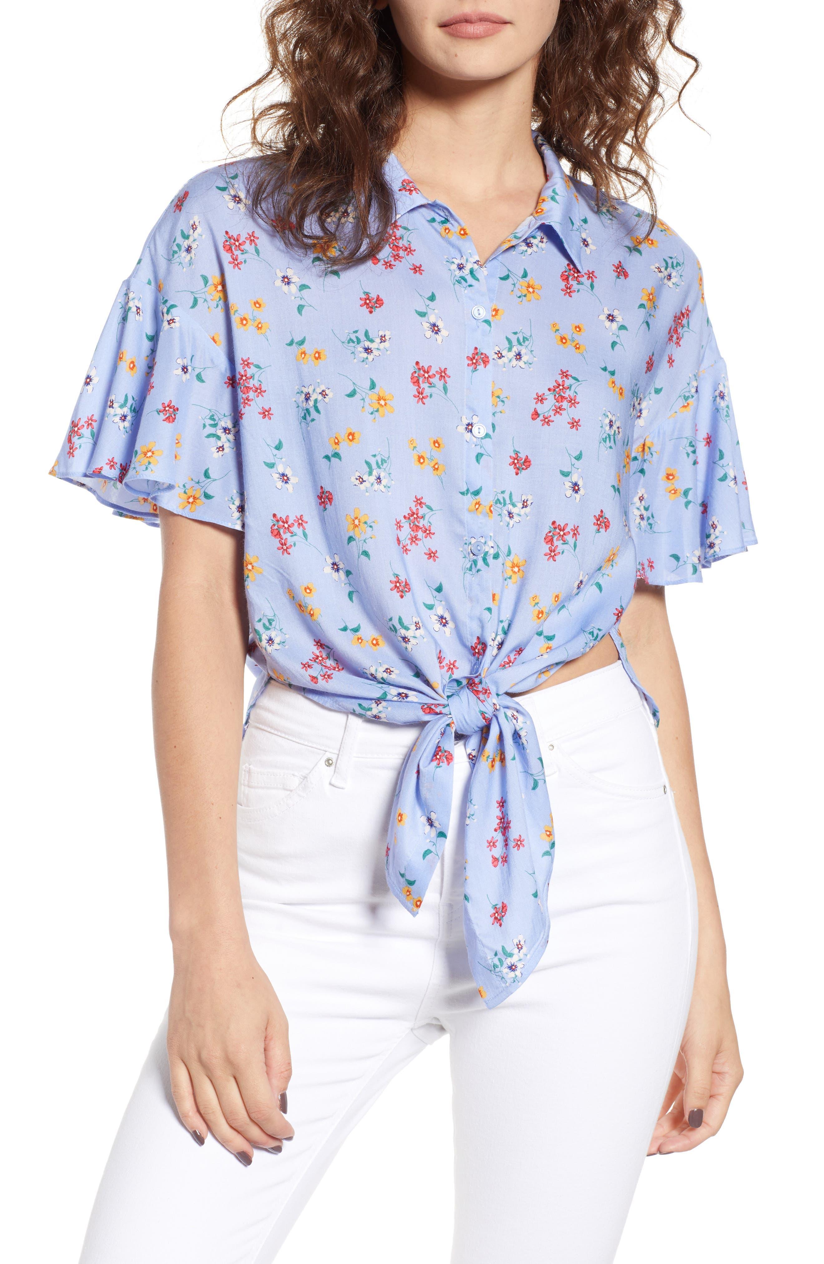 Floral Tie Hem Flutter Sleeve Top,                         Main,                         color, 400