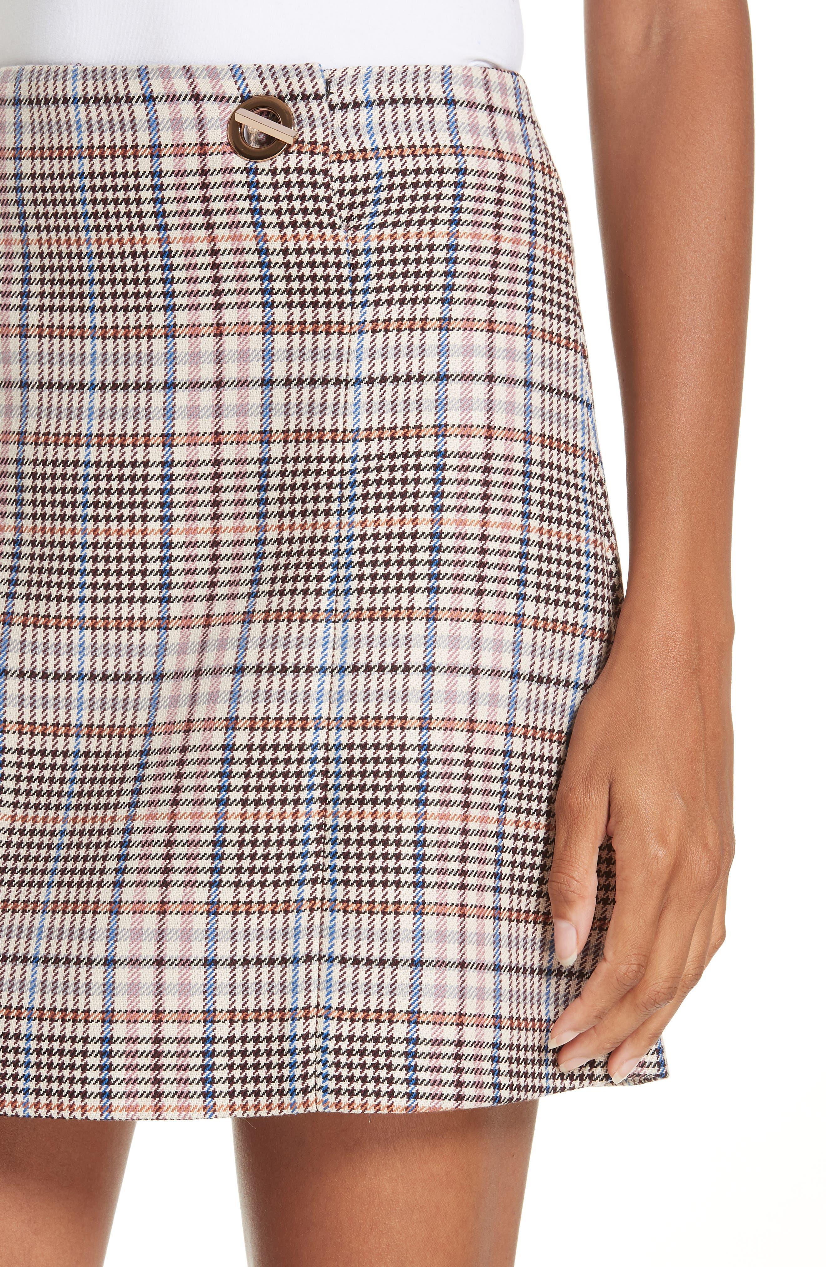Plaid Miniskirt,                             Alternate thumbnail 4, color,                             650