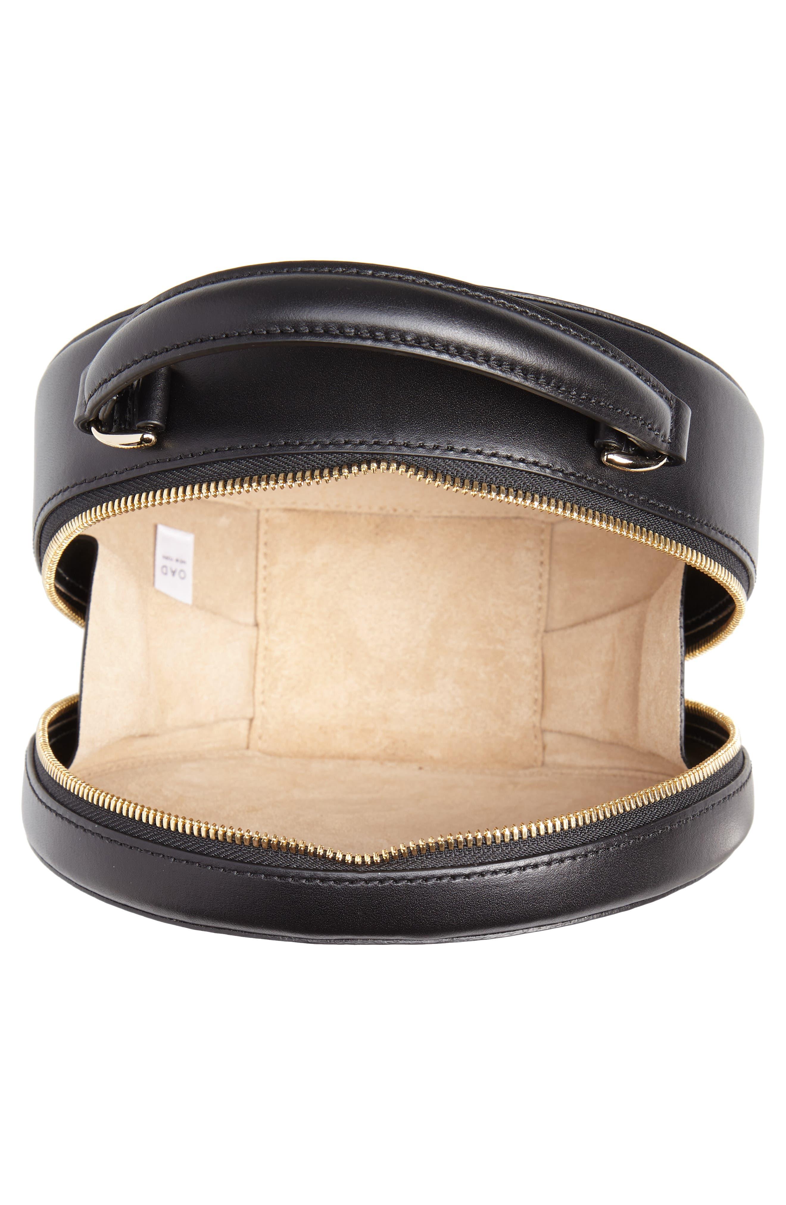 Mini Circle Pebbled Leather Satchel,                             Alternate thumbnail 4, color,                             TRUE BLACK