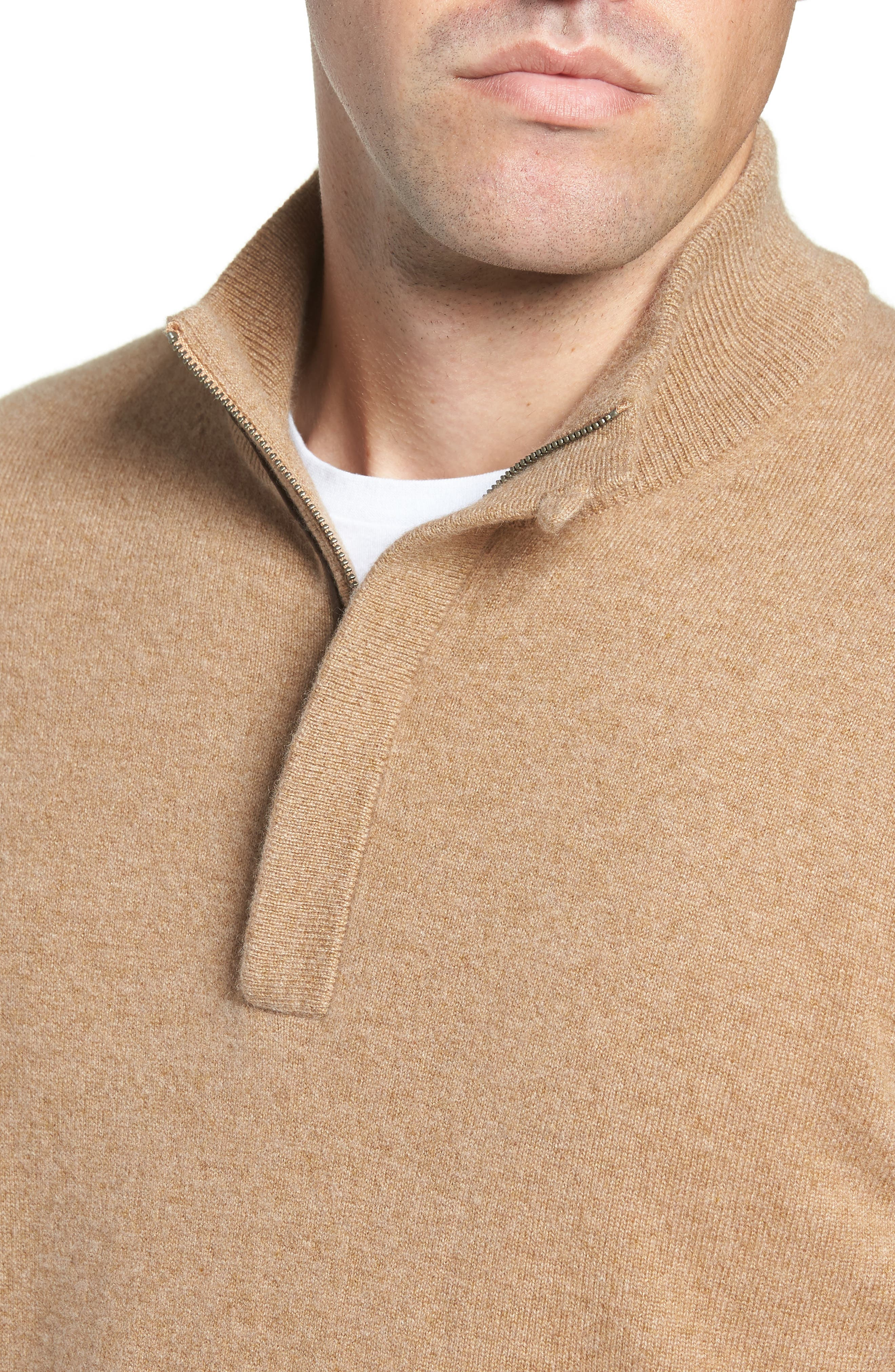 Regular Fit Quarter Zip Cashmere Sweater,                             Alternate thumbnail 4, color,                             BROWN BEAR