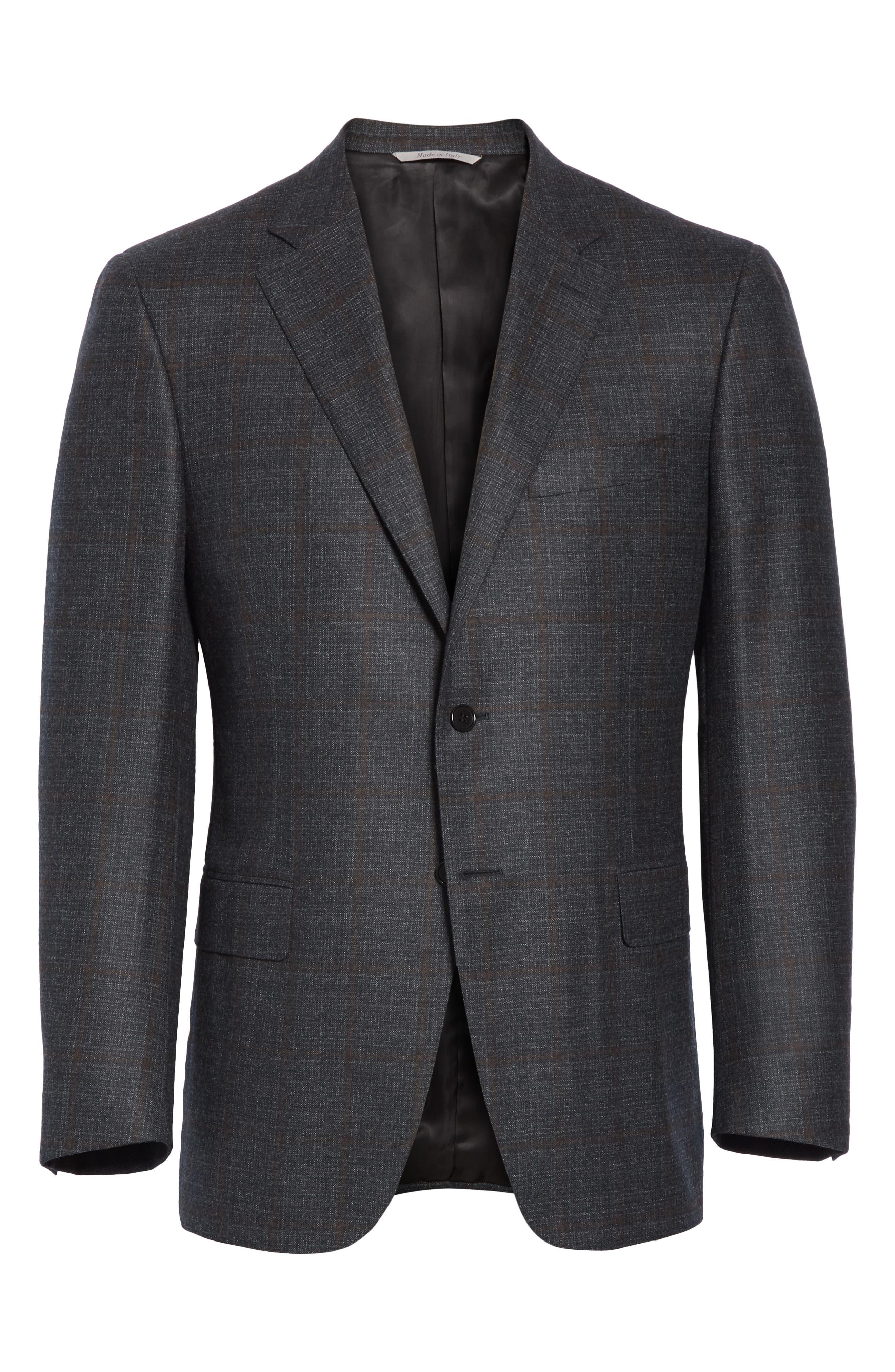 Classic Fit Plaid Wool Sport Coat,                             Alternate thumbnail 5, color,                             CHARCOAL