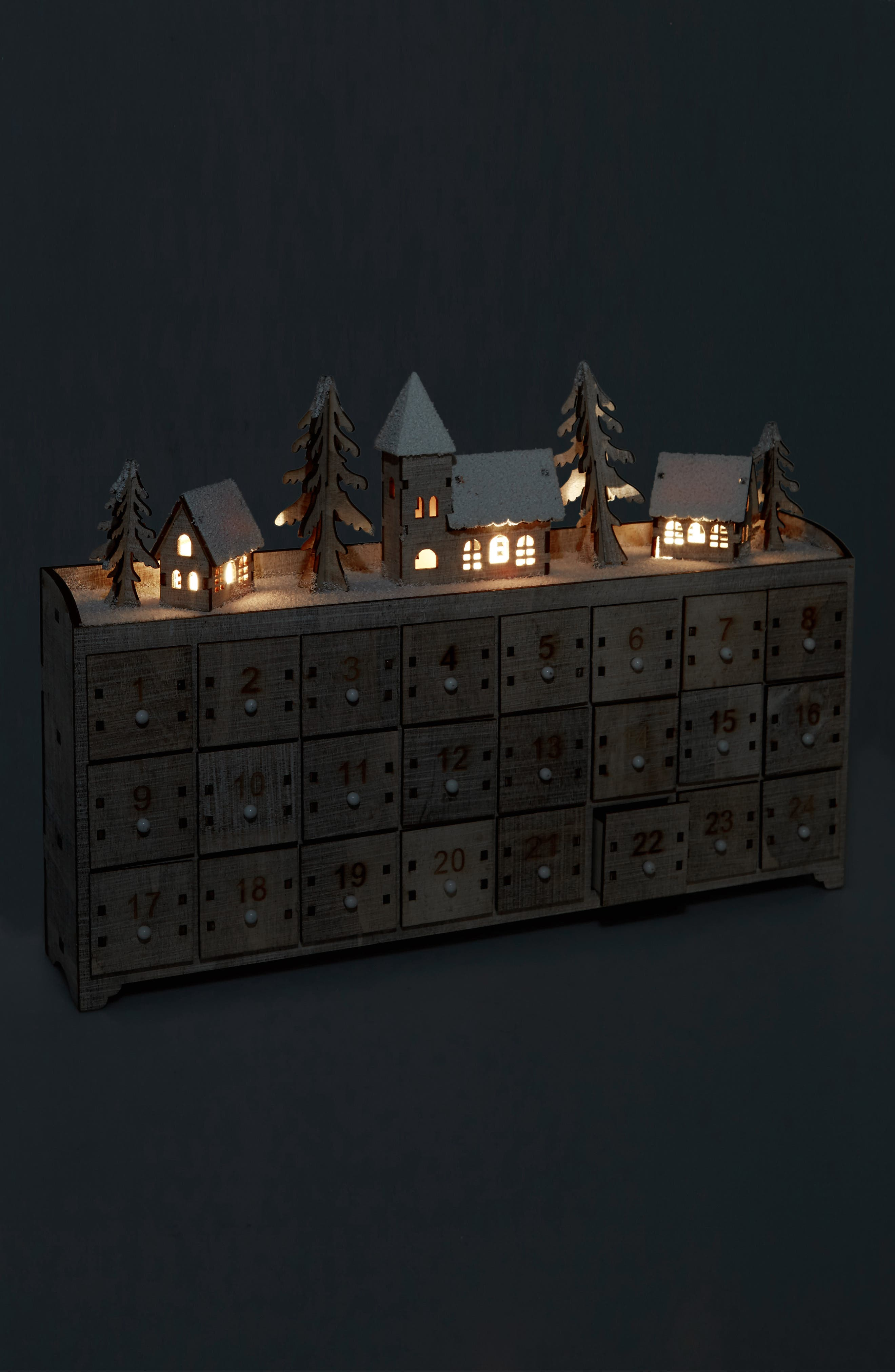 Light-Up Advent Calendar,                             Alternate thumbnail 2, color,                             NATURAL WOOD