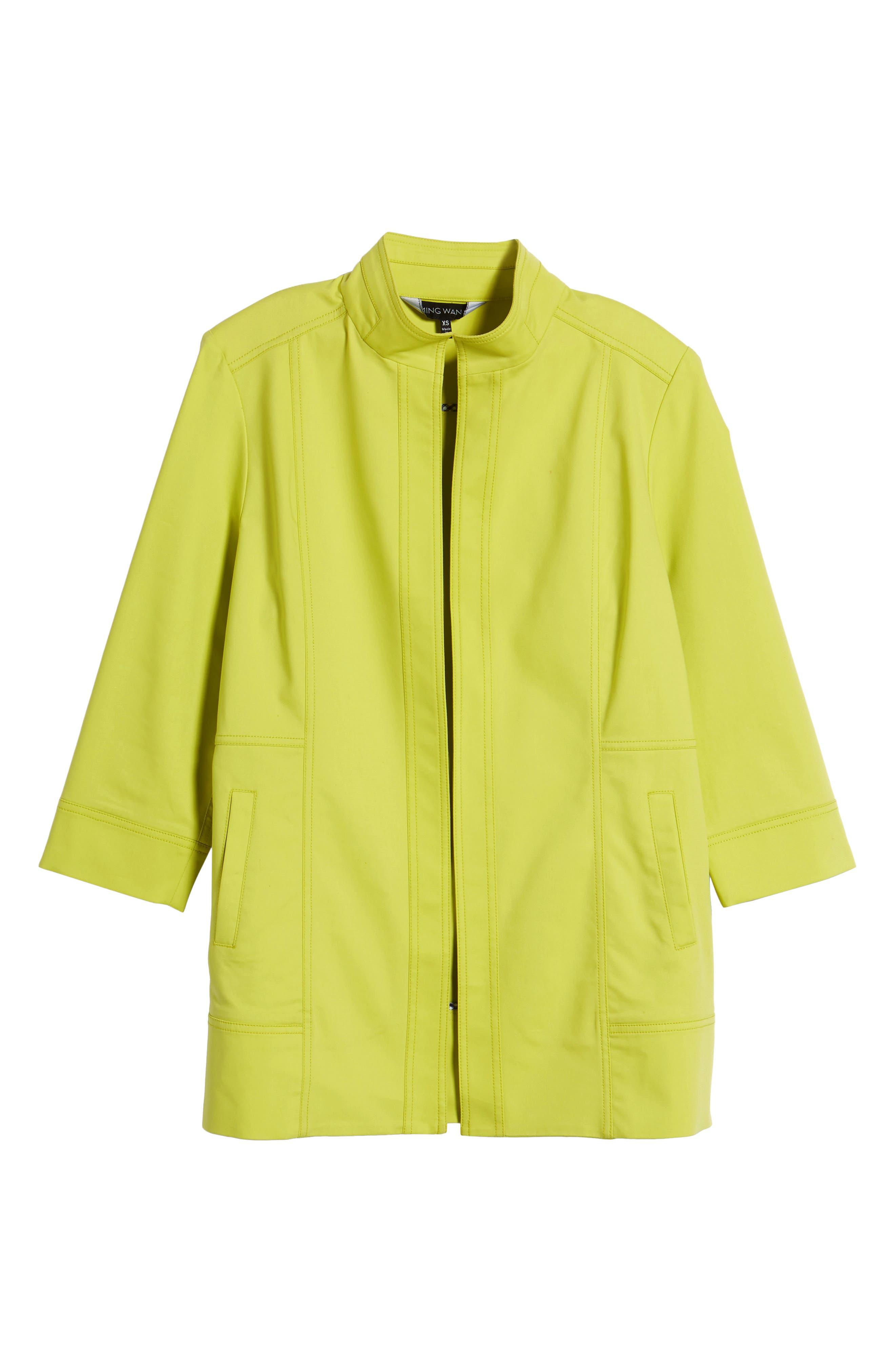 Tie Back Stretch Cotton Jacket,                             Alternate thumbnail 5, color,                             PEAR/ BLACK/ WHITE