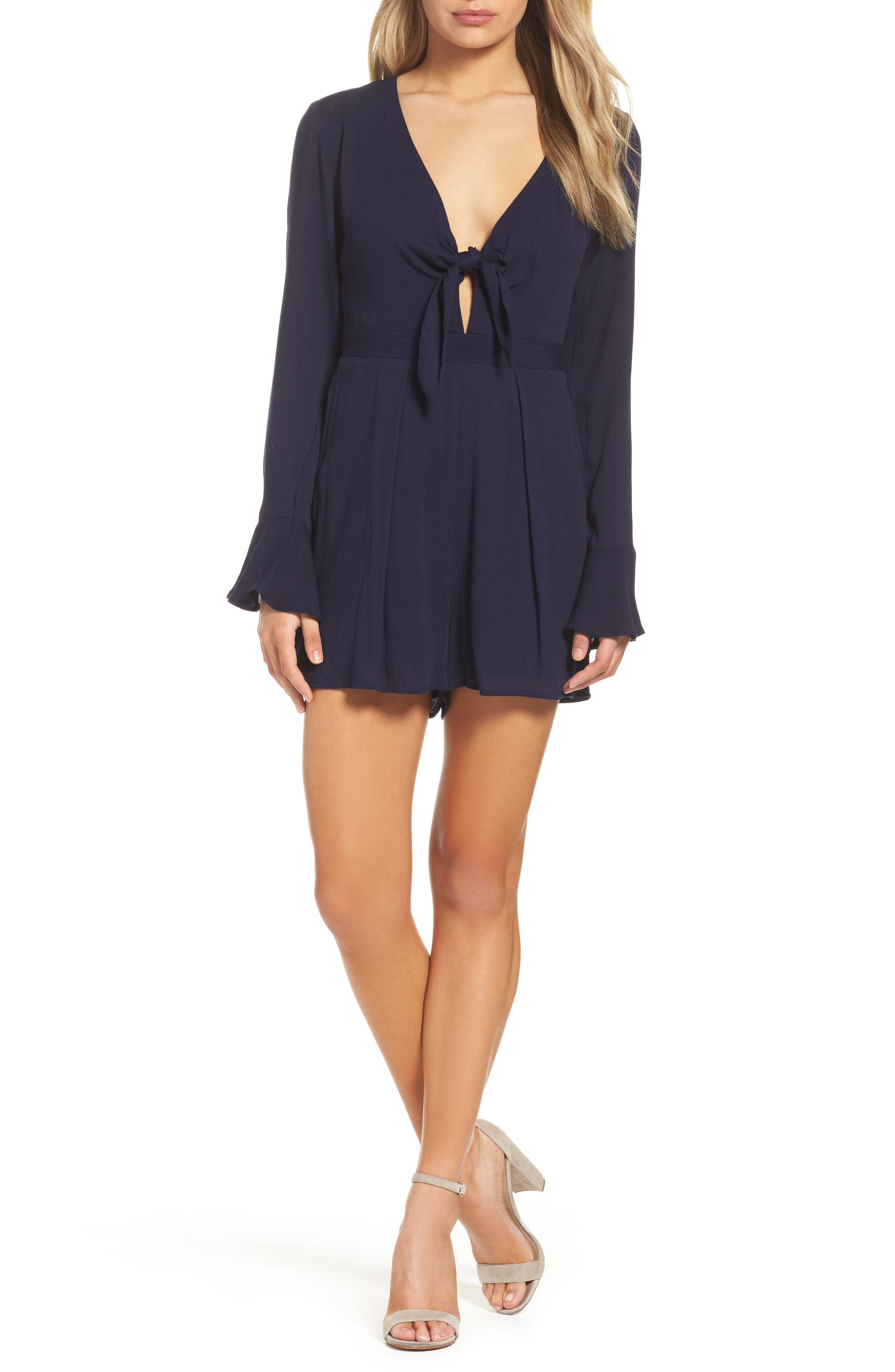 Bell Sleeve Romper,                         Main,                         color, 410