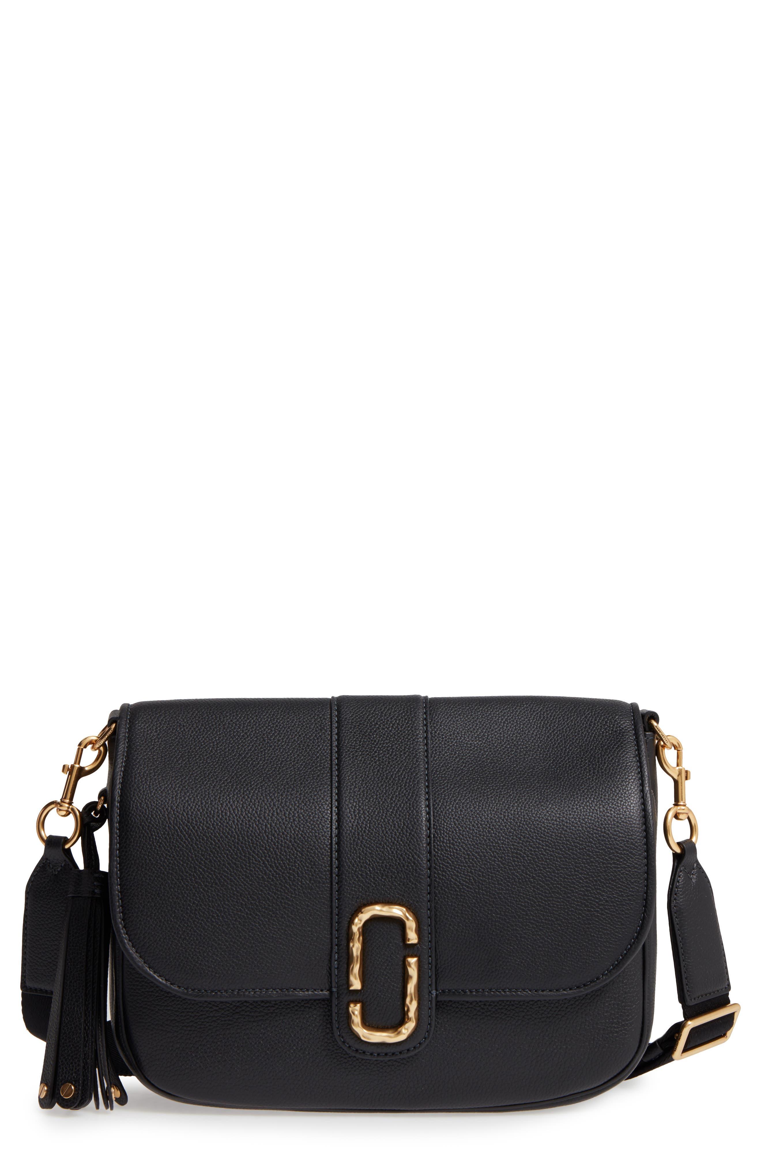 Interlock Leather Crossbody Bag,                             Main thumbnail 1, color,                             001