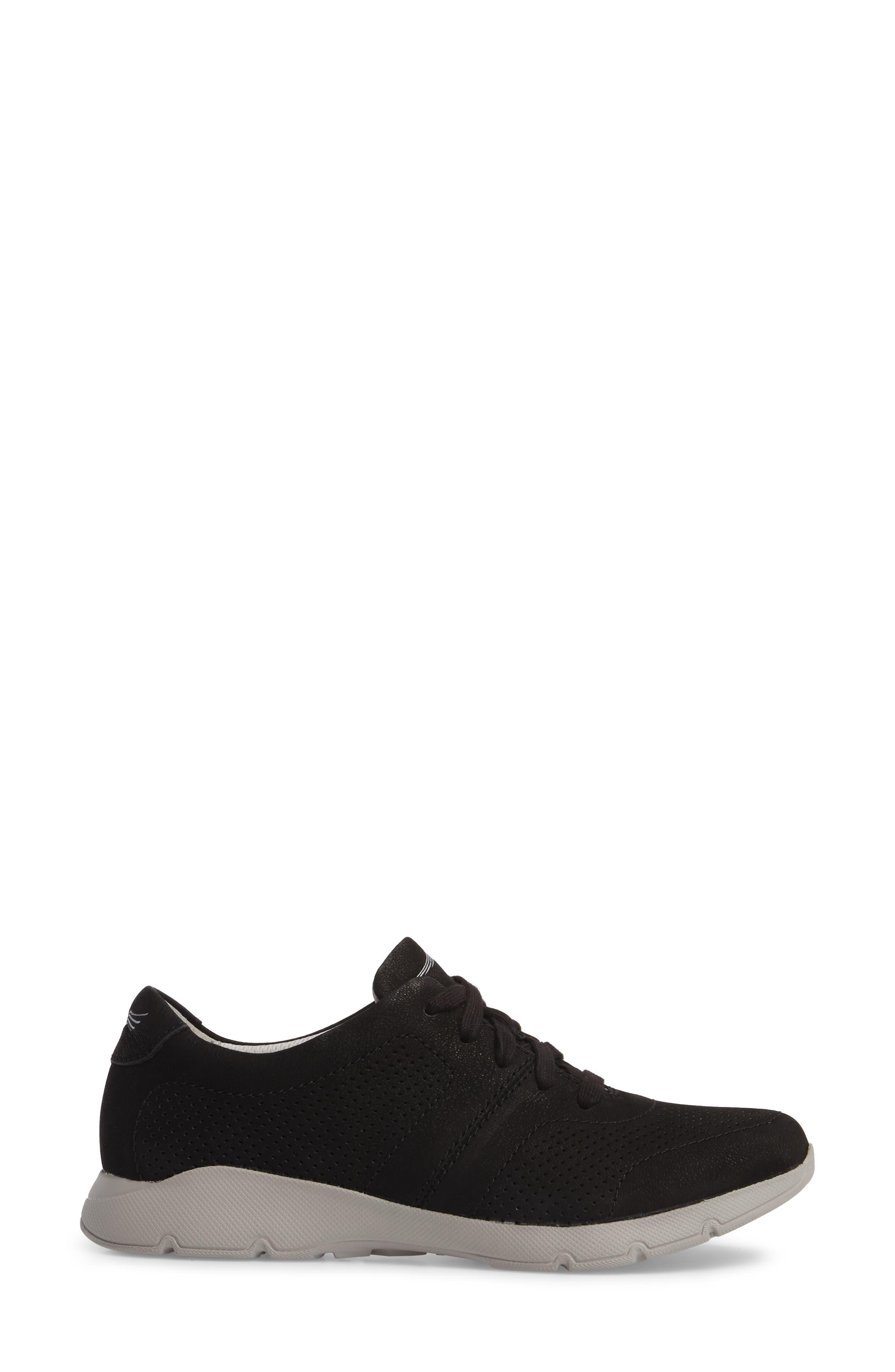 Alissa Sneaker,                             Alternate thumbnail 3, color,                             BLACK MILLED NUBUCK LEATHER