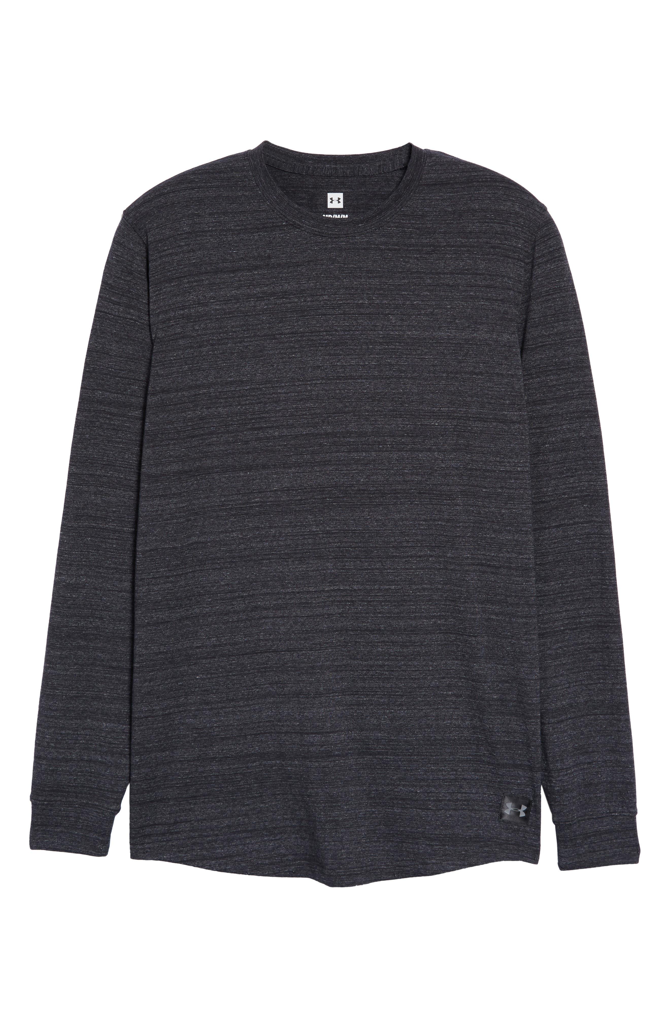 Sportstyle Long Sleeve Performance T-Shirt,                             Alternate thumbnail 6, color,                             BLACK/ STEEL