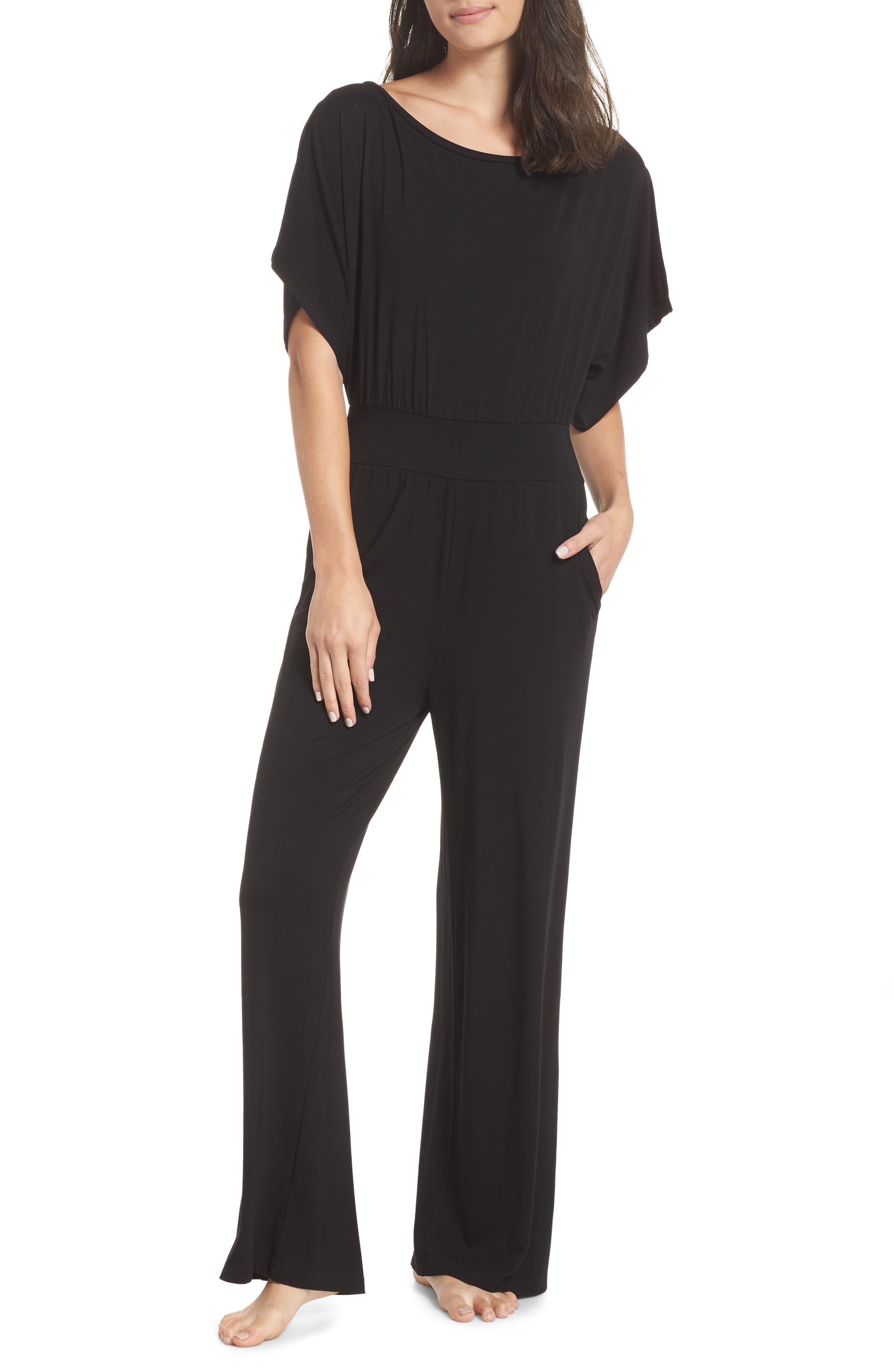 Hottie Off Duty Split Sleeve Jumpsuit,                         Main,                         color, BLACK
