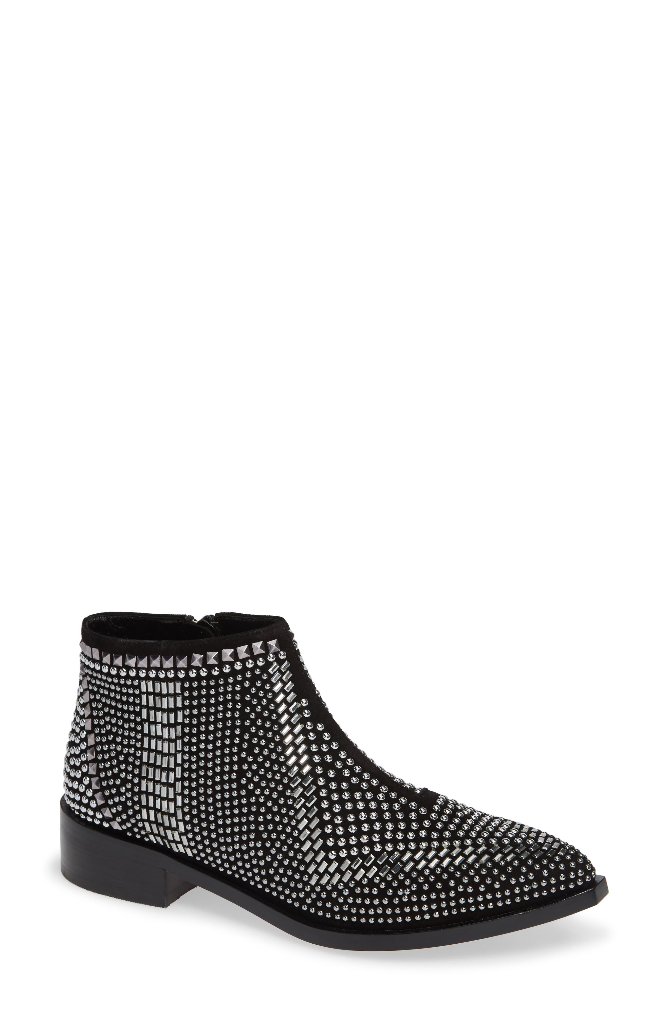 Bianka Studded Bootie,                             Main thumbnail 1, color,                             BLACK SUEDE