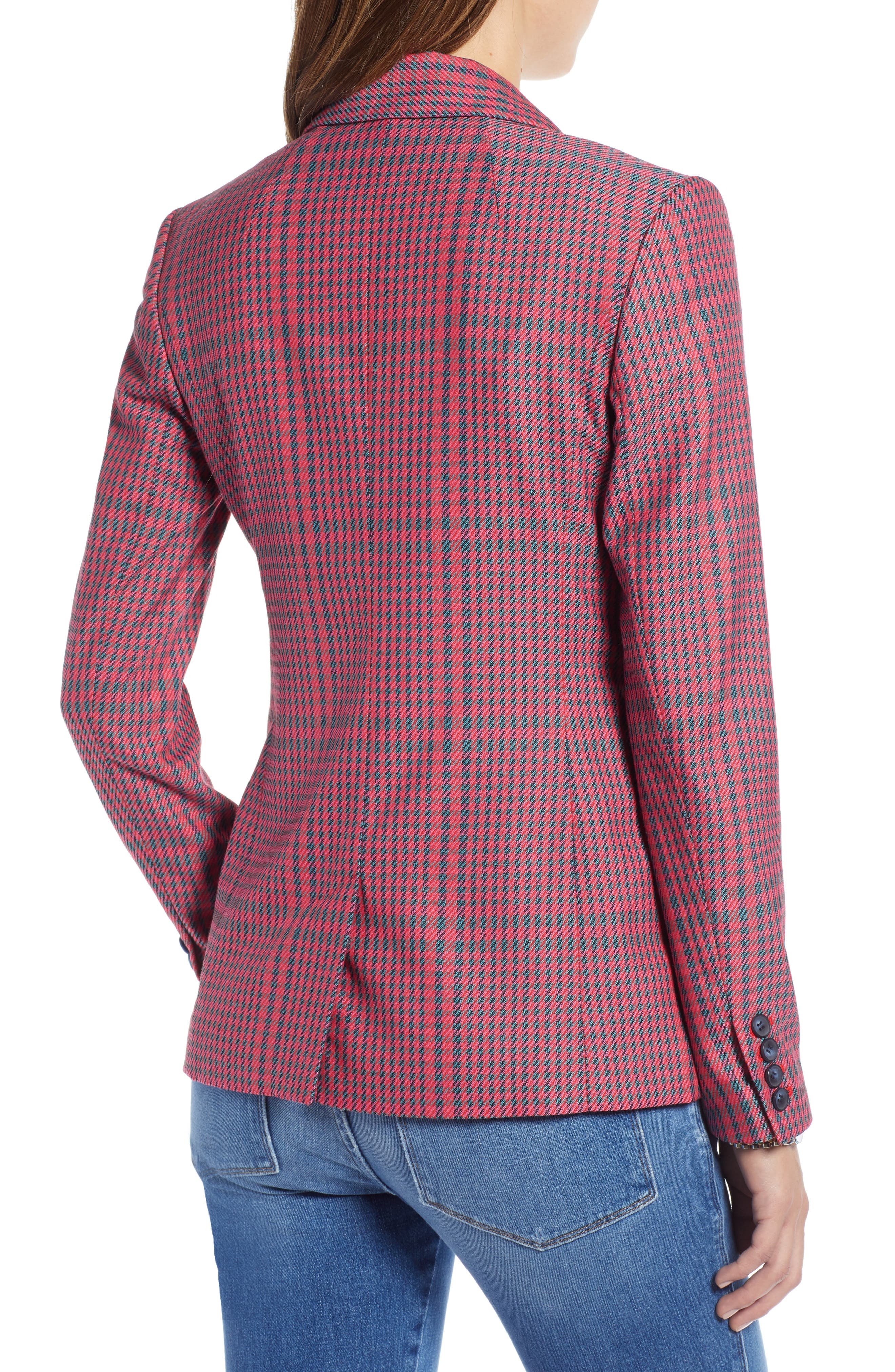 Plaid Blazer,                             Alternate thumbnail 2, color,                             PINK SIMONE PLAID