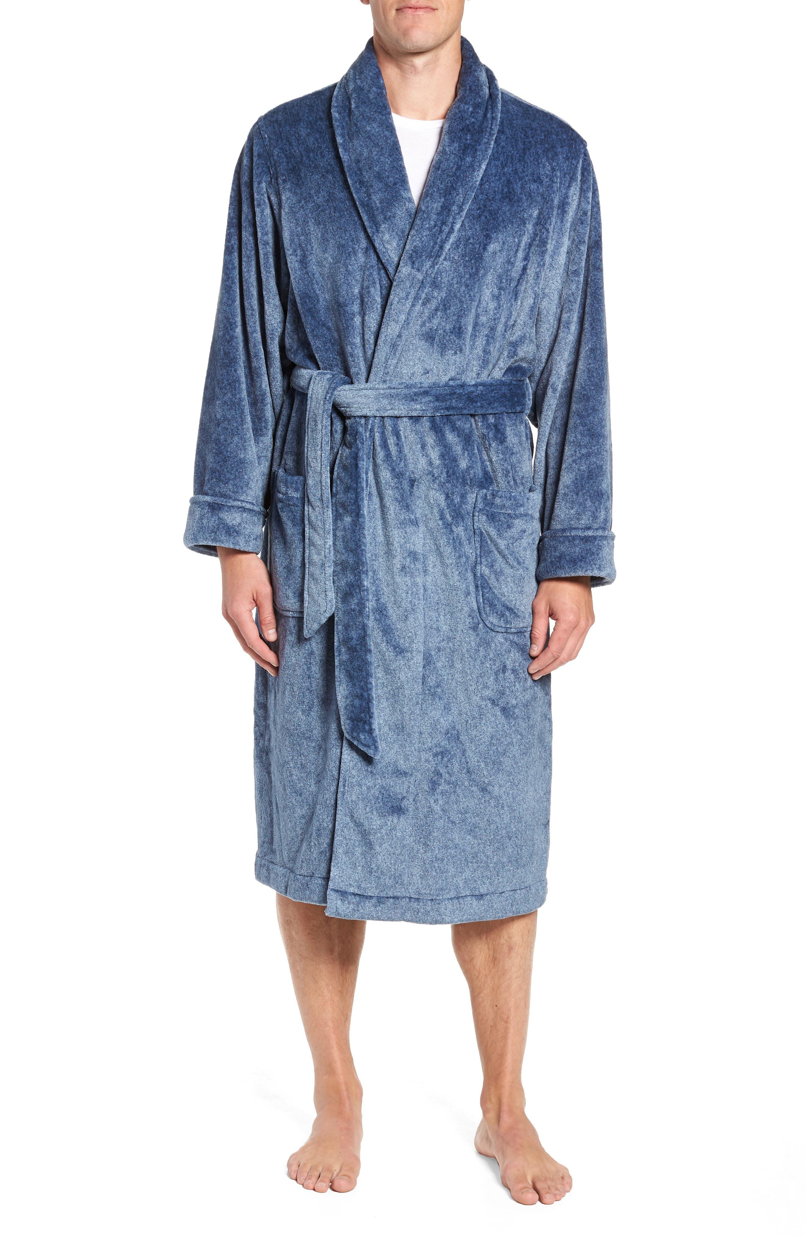 Heathered Fleece Robe,                         Main,                         color, BLUE CORONET
