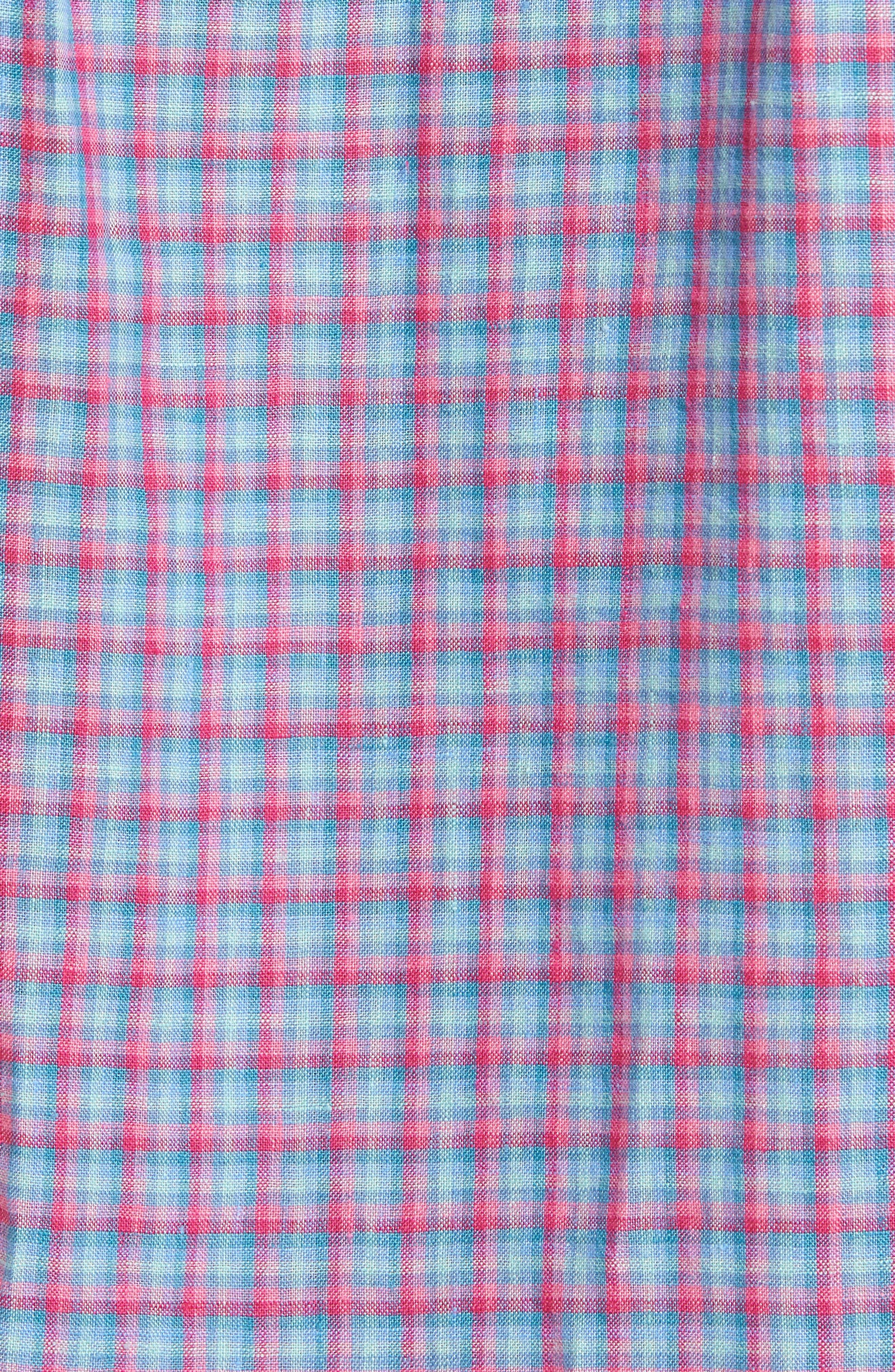 Althoff Plaid Linen Sport Shirt,                             Alternate thumbnail 5, color,                             PINK