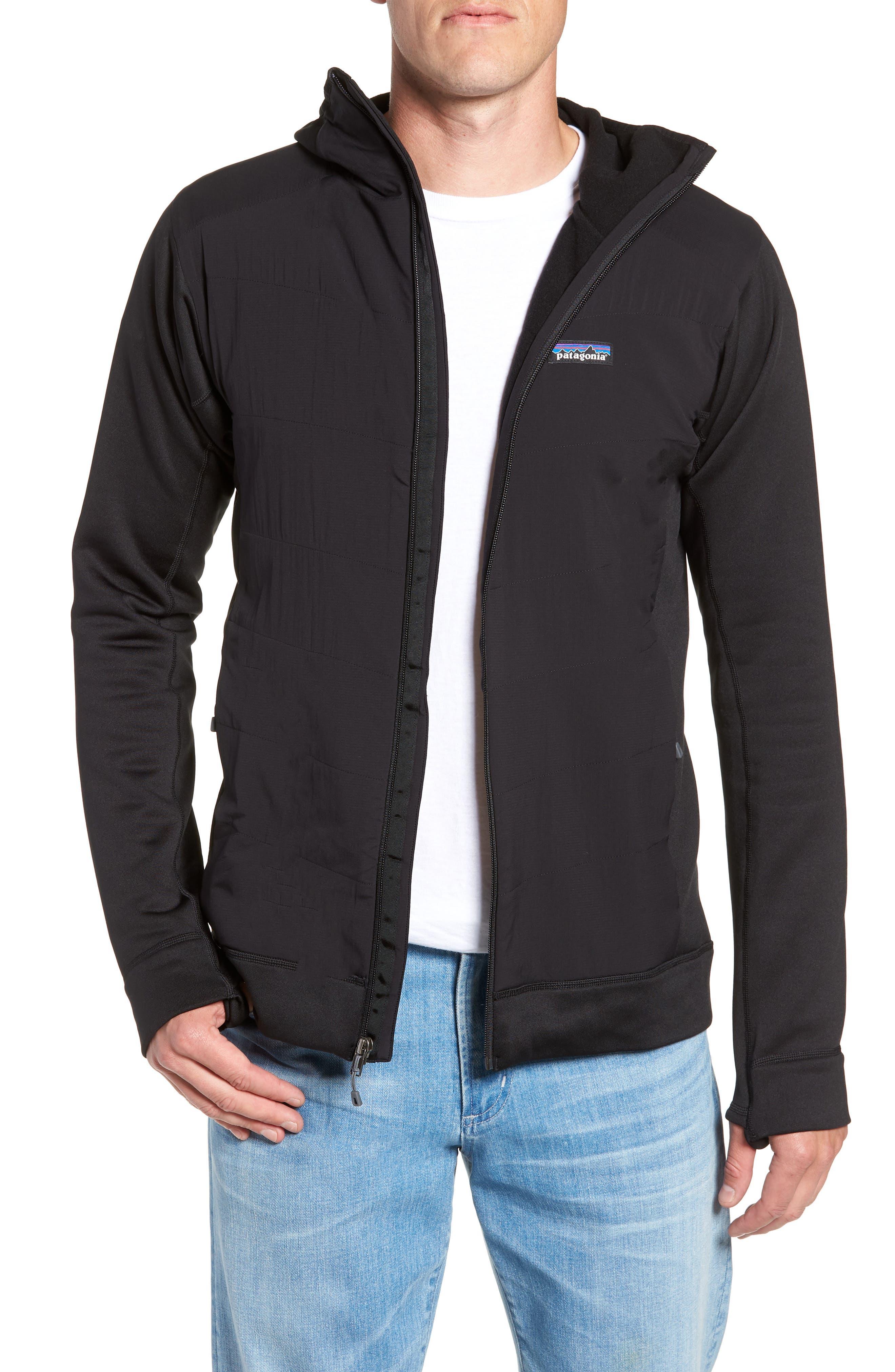 Crosstek Hybrid Hooded Jacket,                         Main,                         color, BLACK