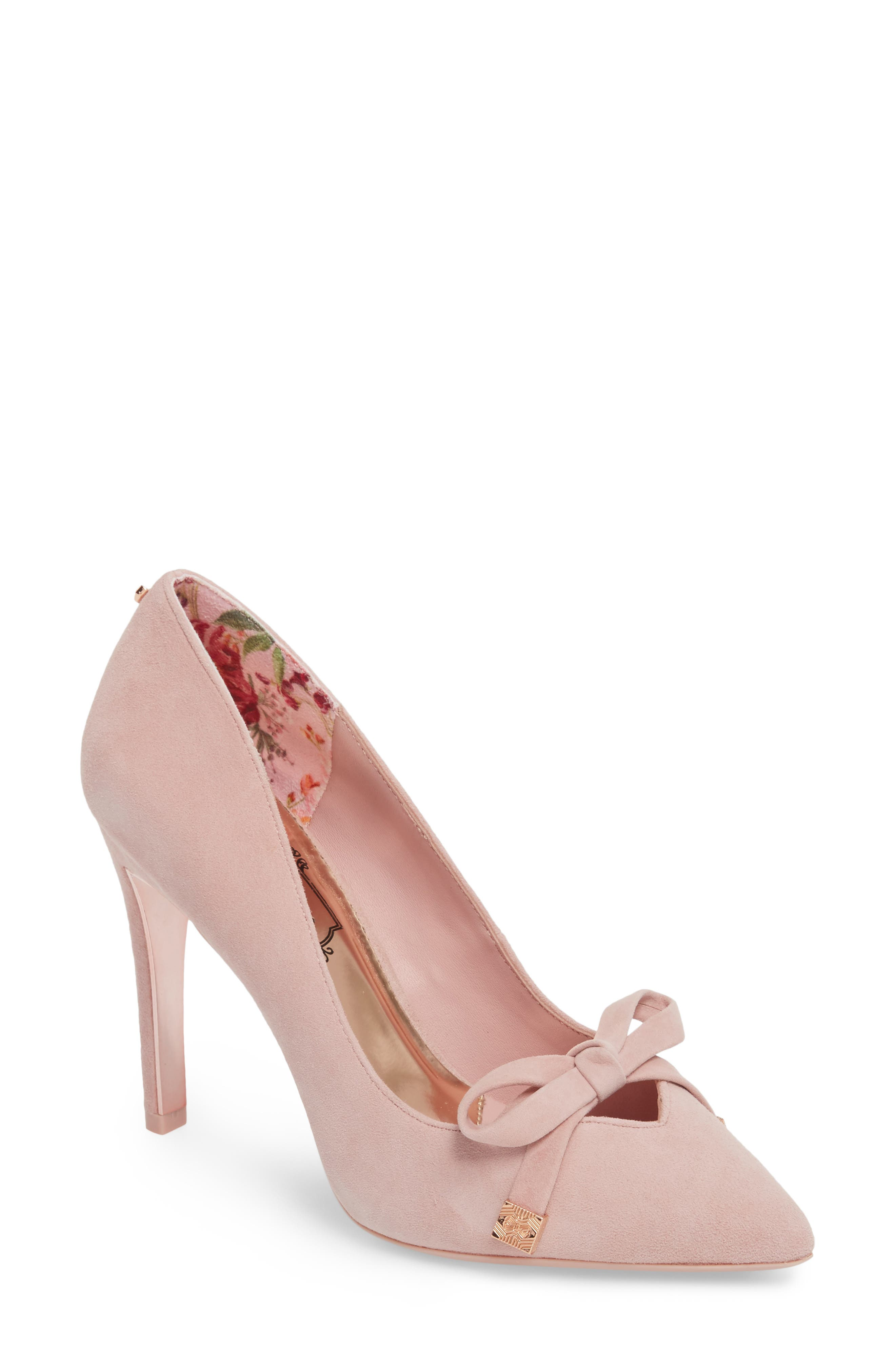 Gewell Bow Pump,                             Main thumbnail 1, color,                             MINK PINK SUEDE