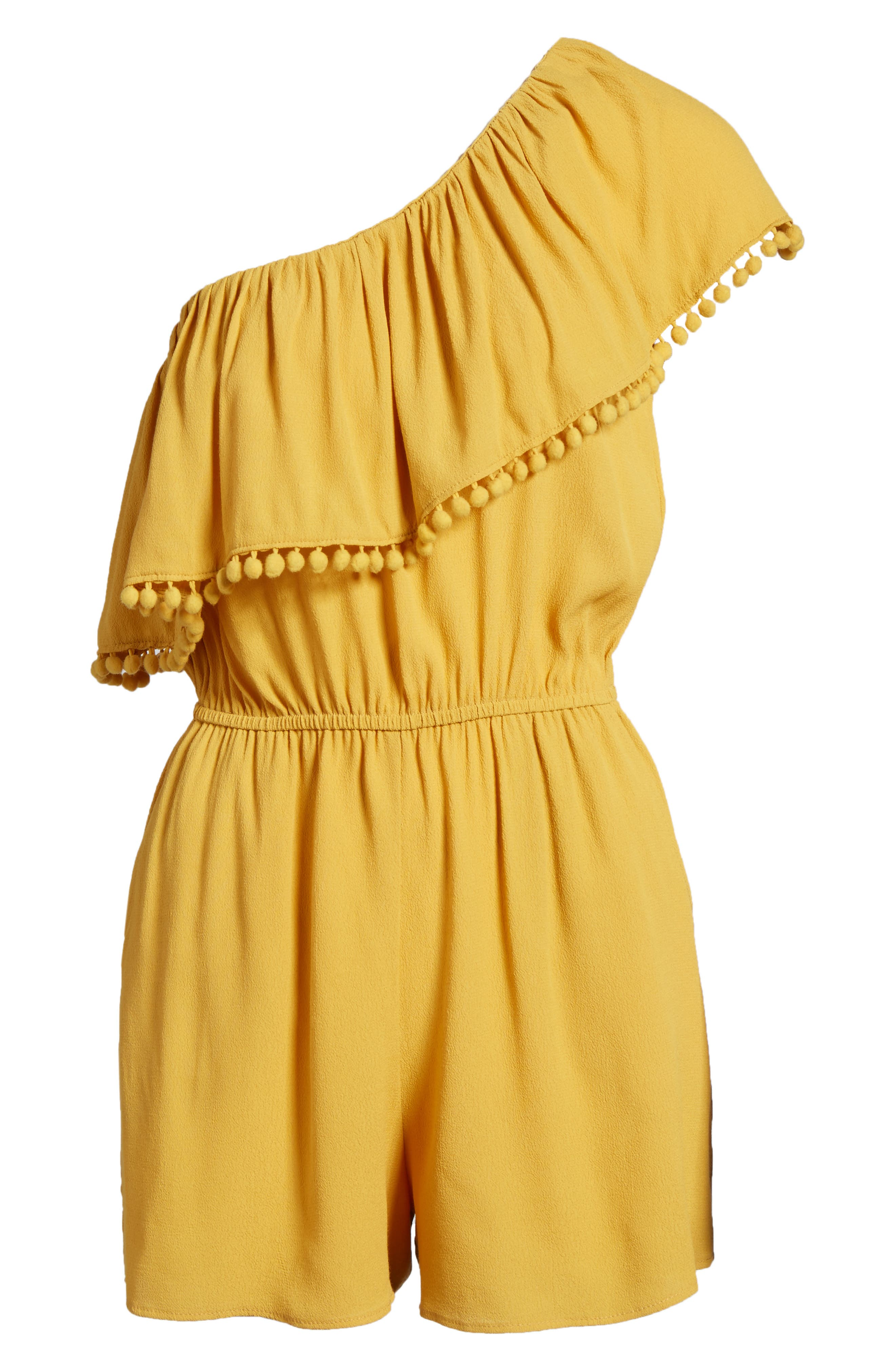 One-Shoulder Ruffle Romper,                             Alternate thumbnail 7, color,                             701