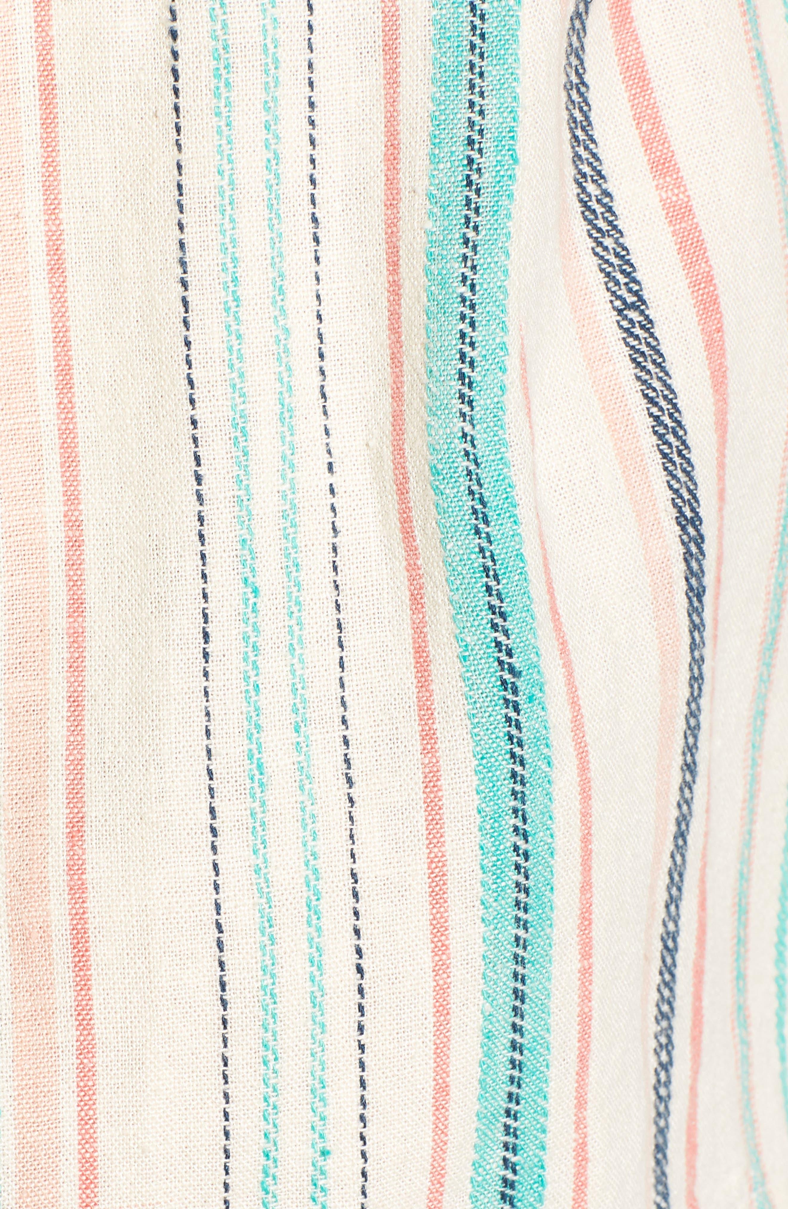 La Paz Stripe Twill Romper,                             Alternate thumbnail 6, color,                             MULTI