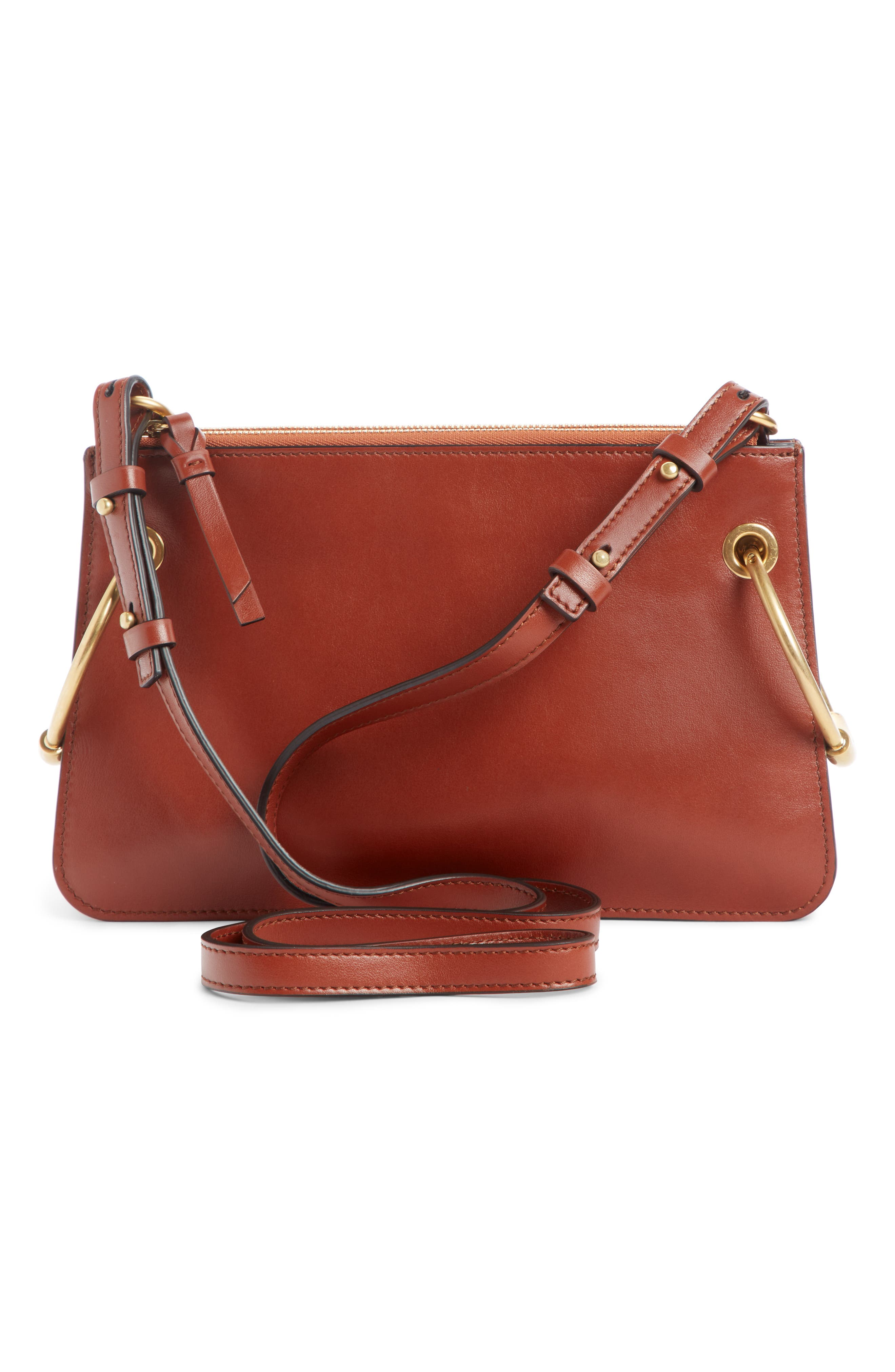 Small Roy Leather Shoulder Bag,                             Alternate thumbnail 3, color,                             SEPIA BROWN