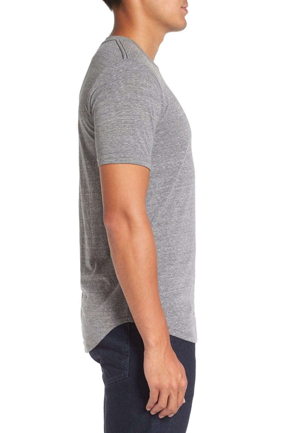Triblend Scallop Crewneck T-Shirt,                             Alternate thumbnail 3, color,                             HEATHER GREY
