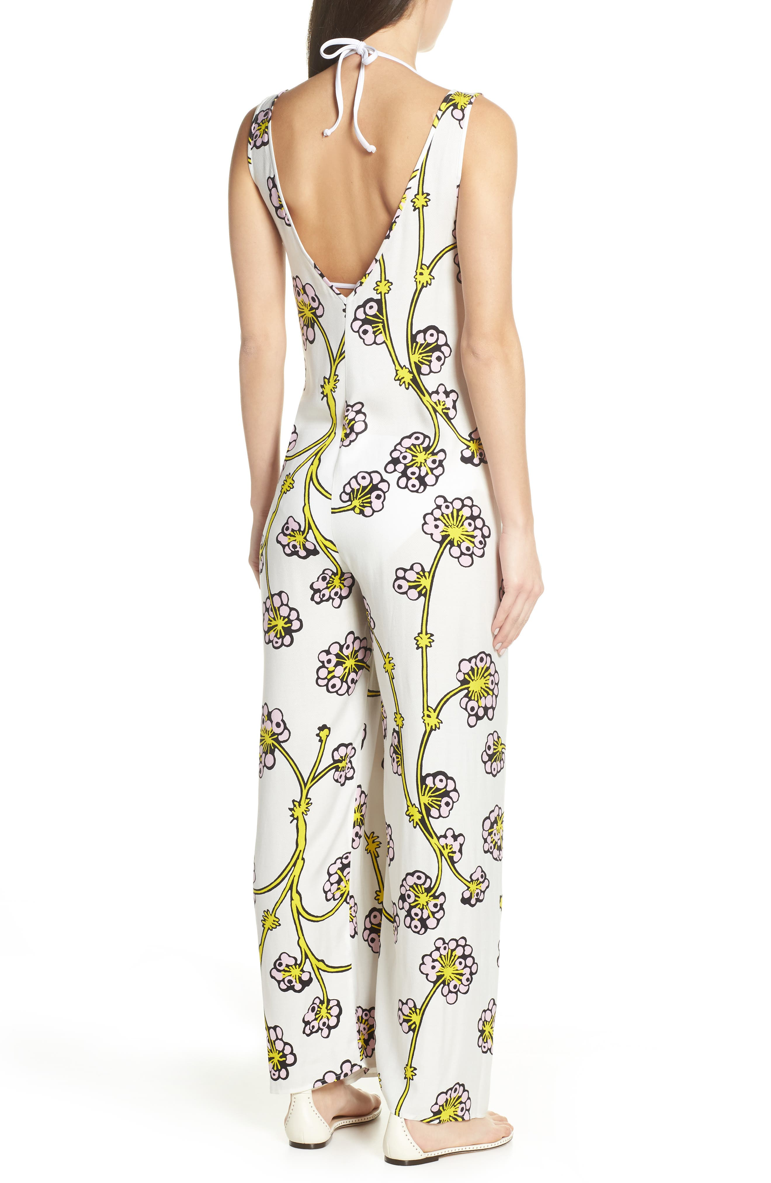 Print Jumpsuit Cover-Up,                             Alternate thumbnail 2, color,                             DRAGON BERRY GIANT IVORY