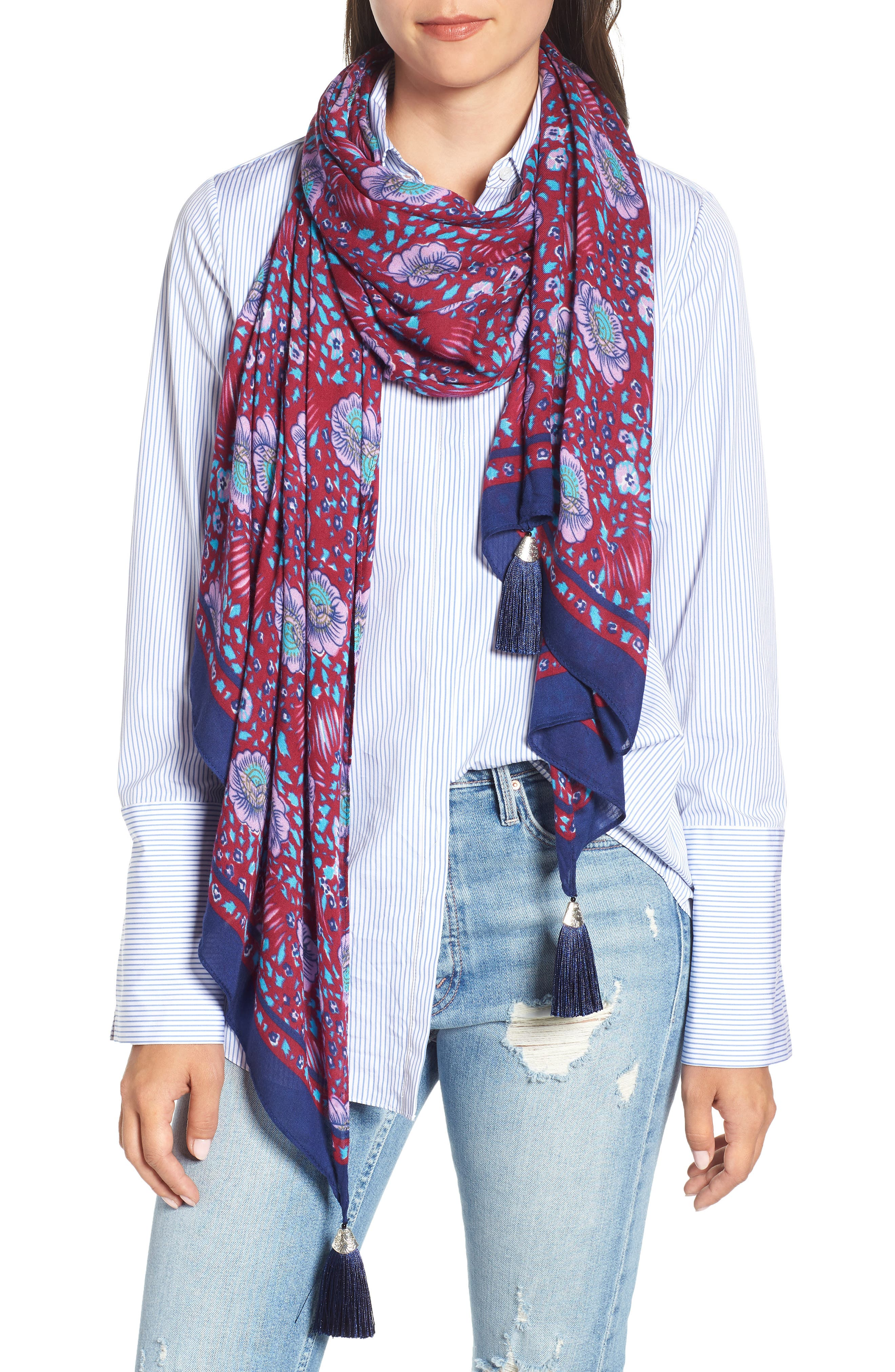 Persian Rose Oblong Scarf,                         Main,                         color, RED