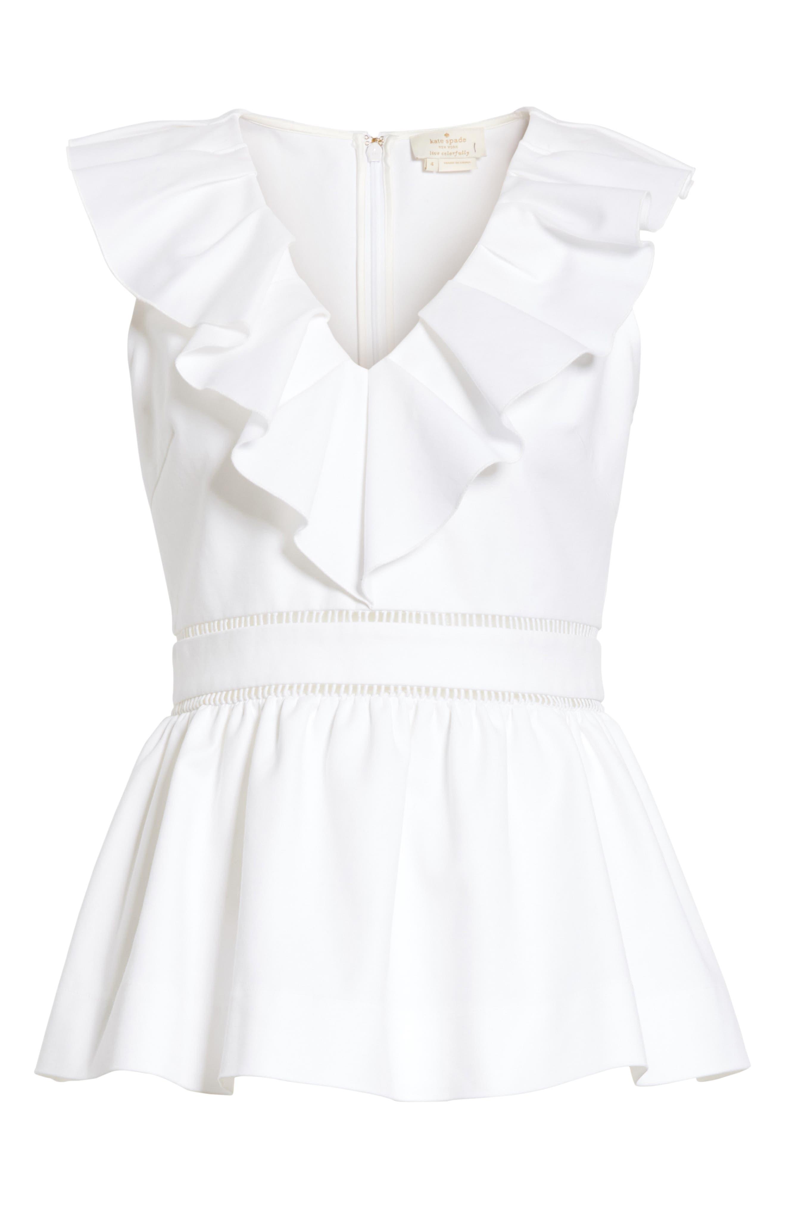 ruffle neck stretch cotton peplum blouse,                             Alternate thumbnail 12, color,