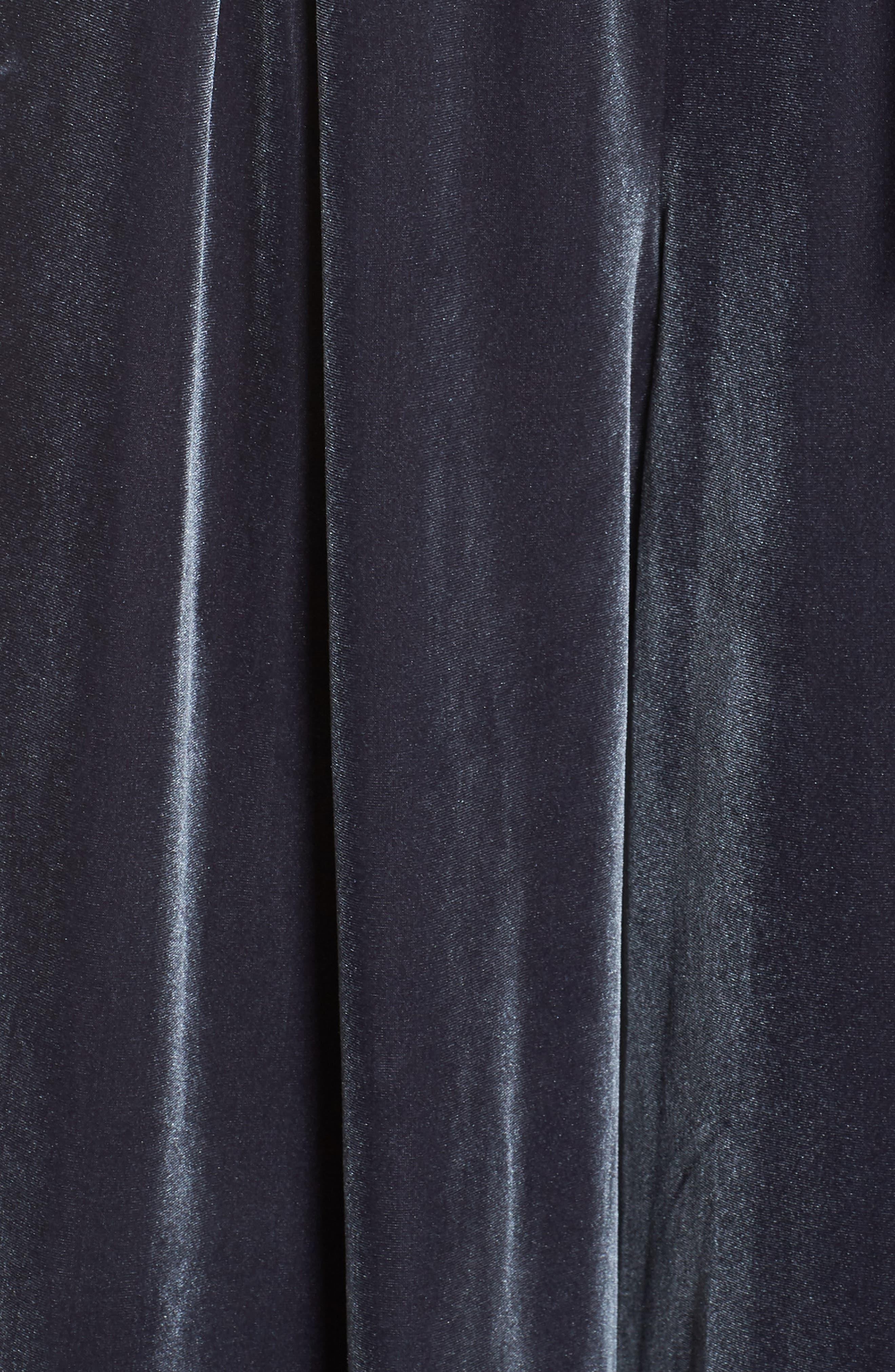 Velvet Culotte Jumpsuit,                             Alternate thumbnail 6, color,                             GREY PHANTOM