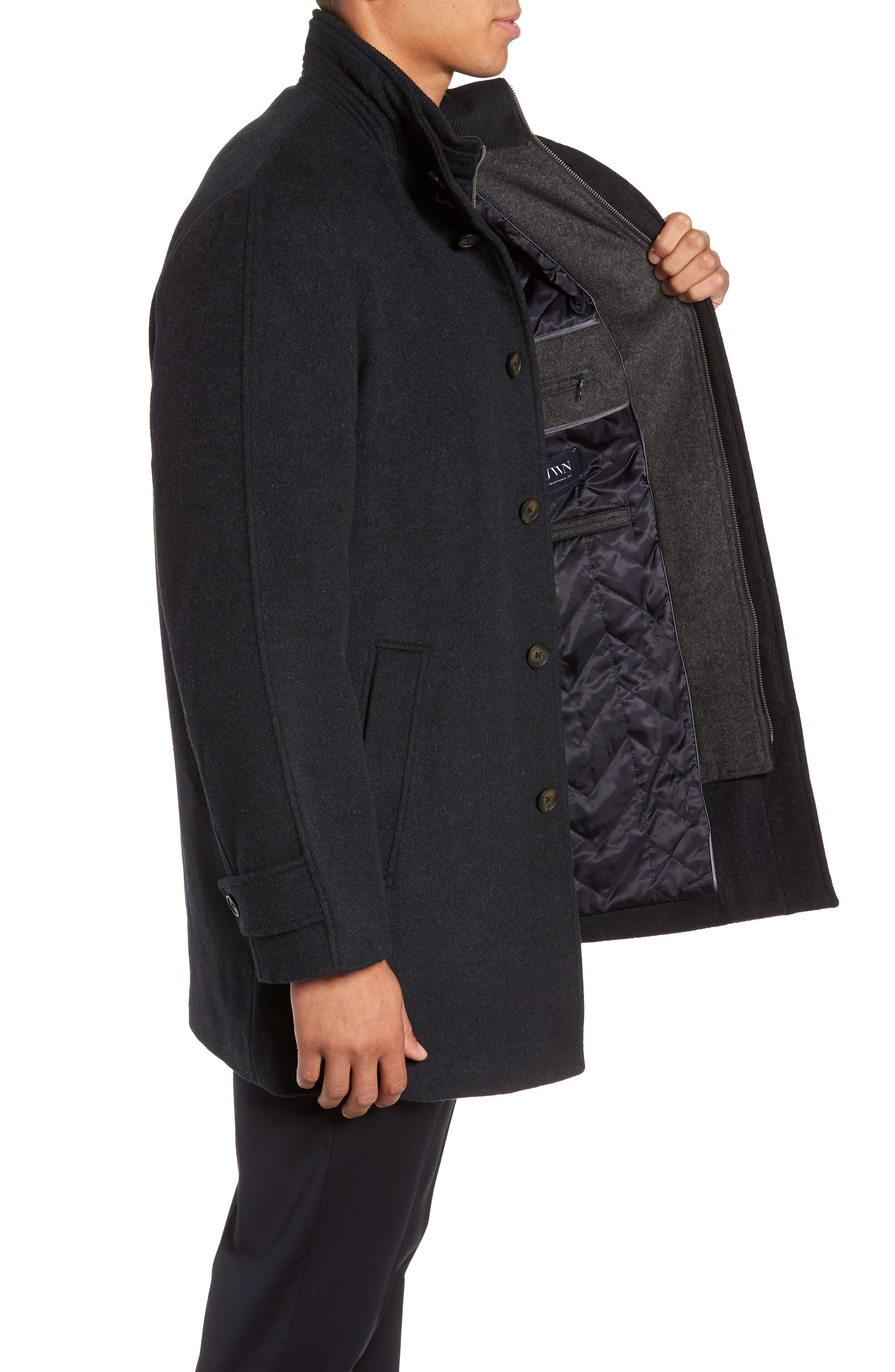 Hudson Wool Car Coat,                             Alternate thumbnail 3, color,                             NAVY MELANGE