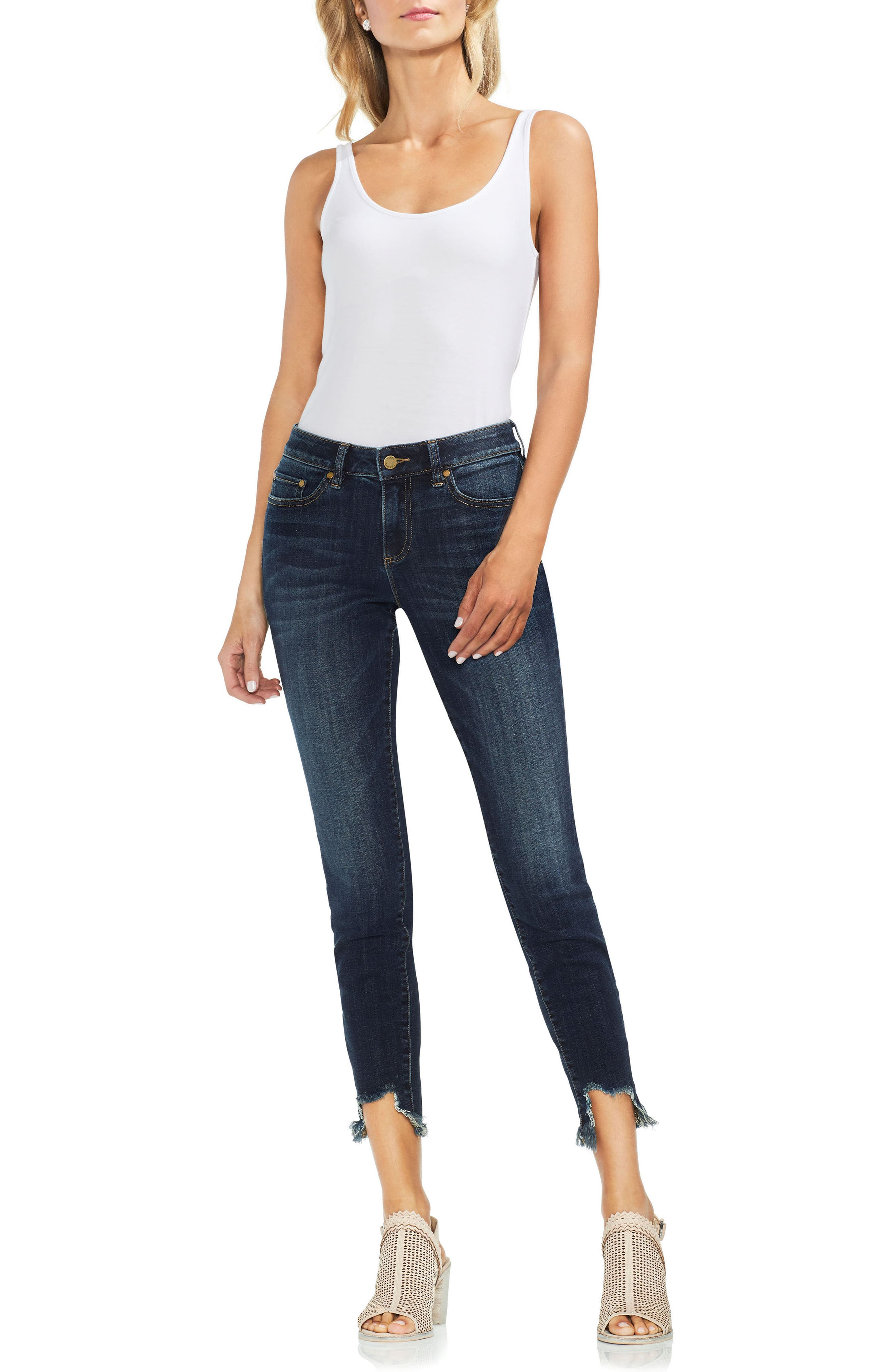 Uneven Hem Skinny Jeans,                             Alternate thumbnail 7, color,