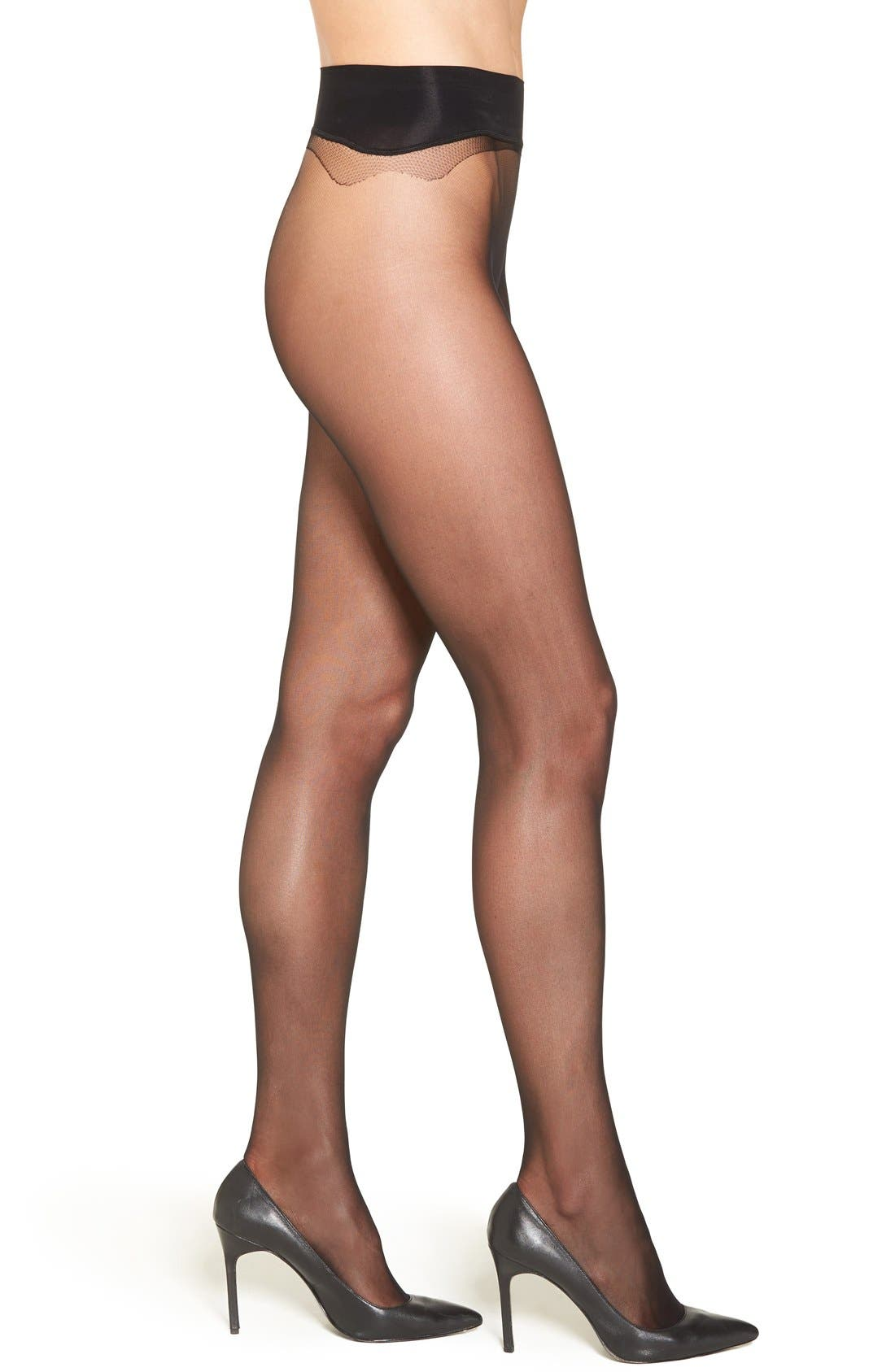 Seamless Sheer Pantyhose,                         Main,                         color, BLACK