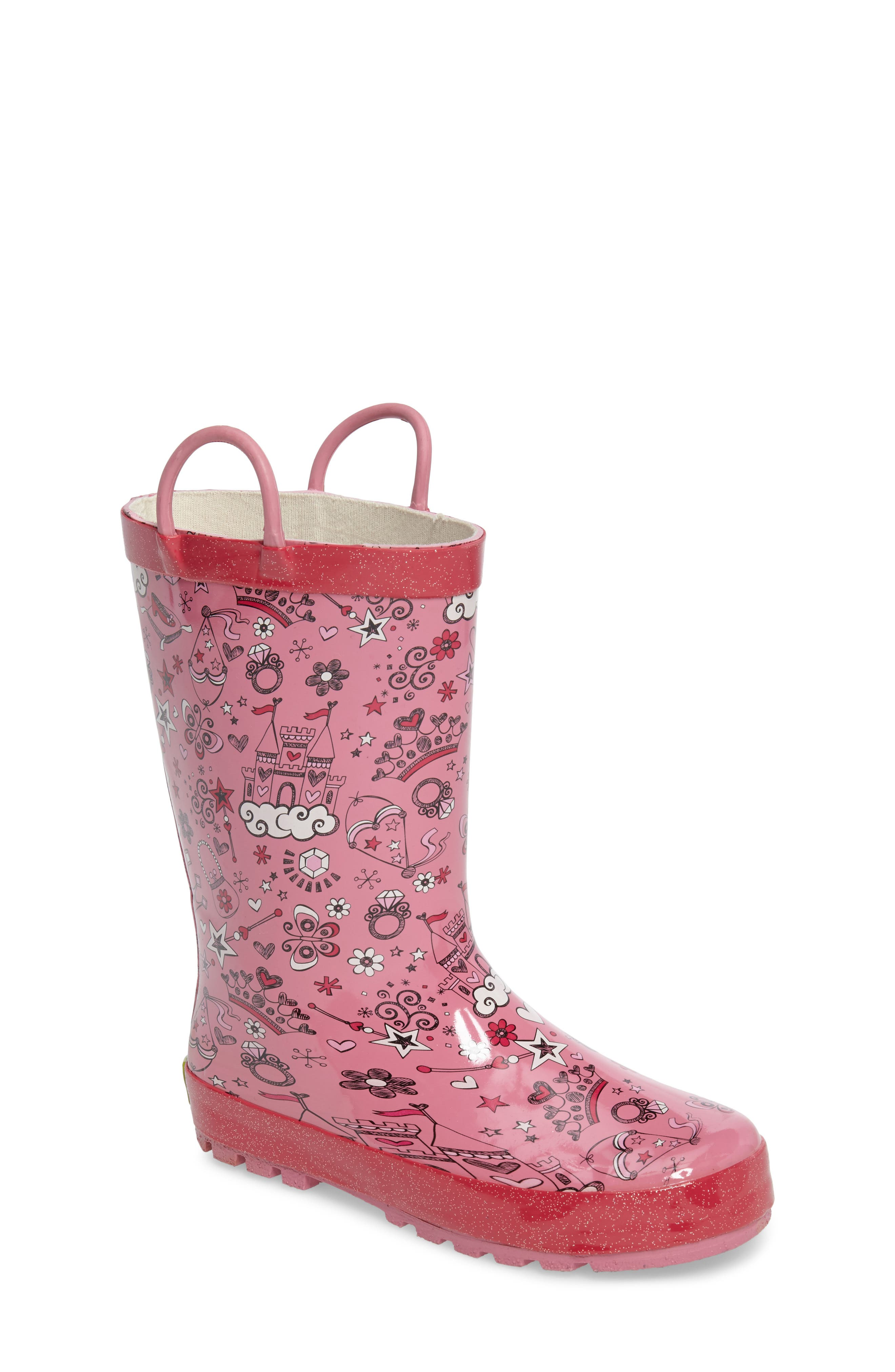 Fairy Tale Rain Boot,                             Main thumbnail 1, color,                             PINK