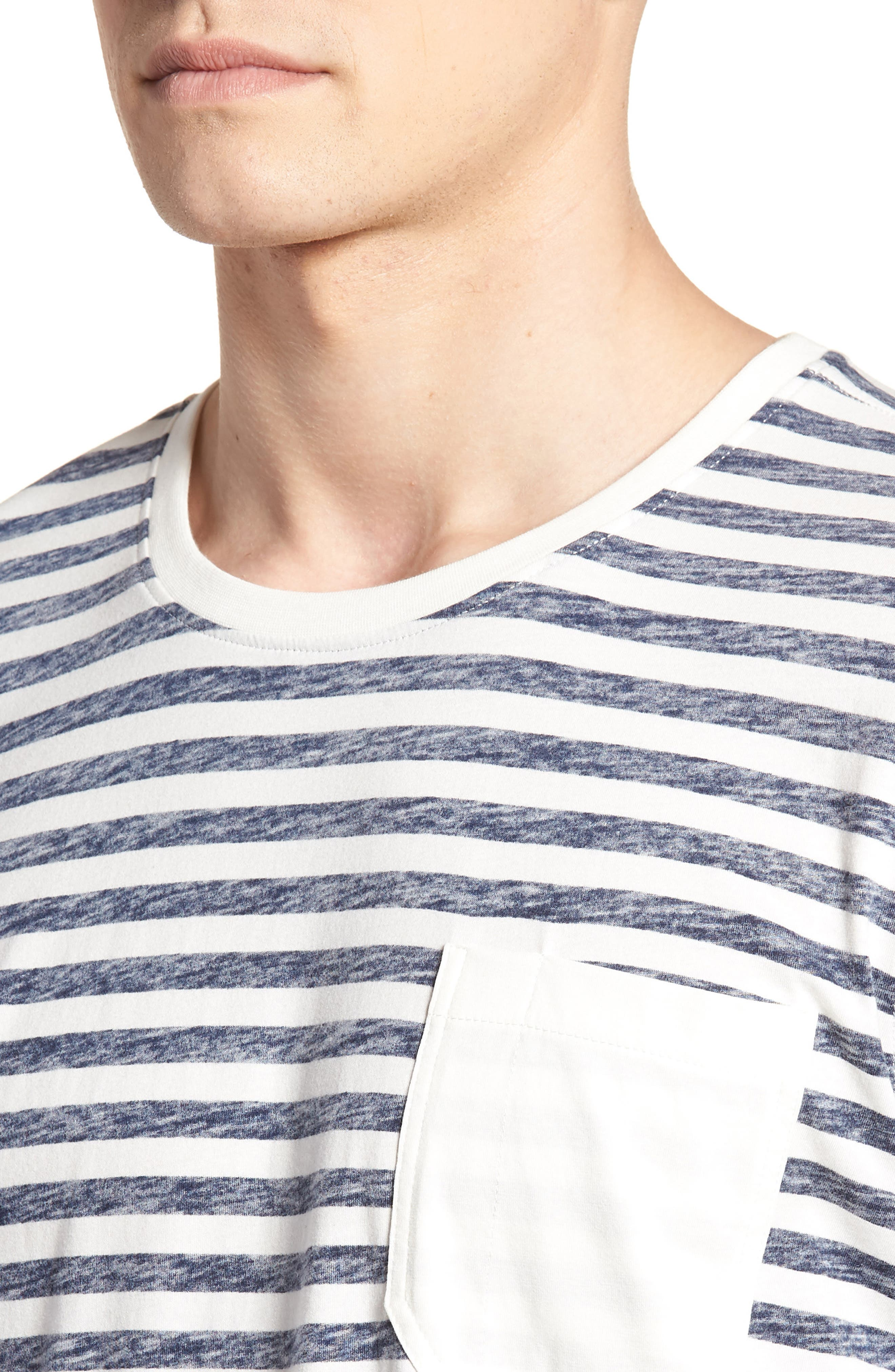 Stripe T-Shirt,                             Alternate thumbnail 4, color,                             NAVY STRIPE