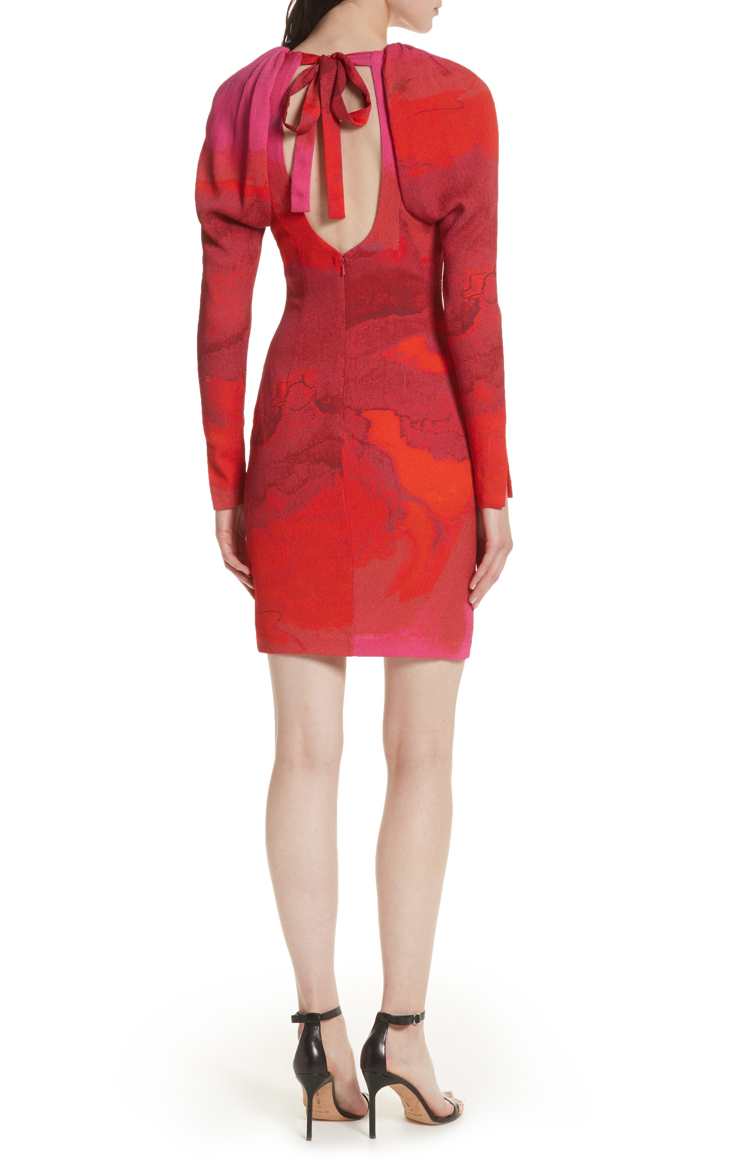 Abstract Print Stretch Silk Sheath Dress,                             Alternate thumbnail 2, color,                             605
