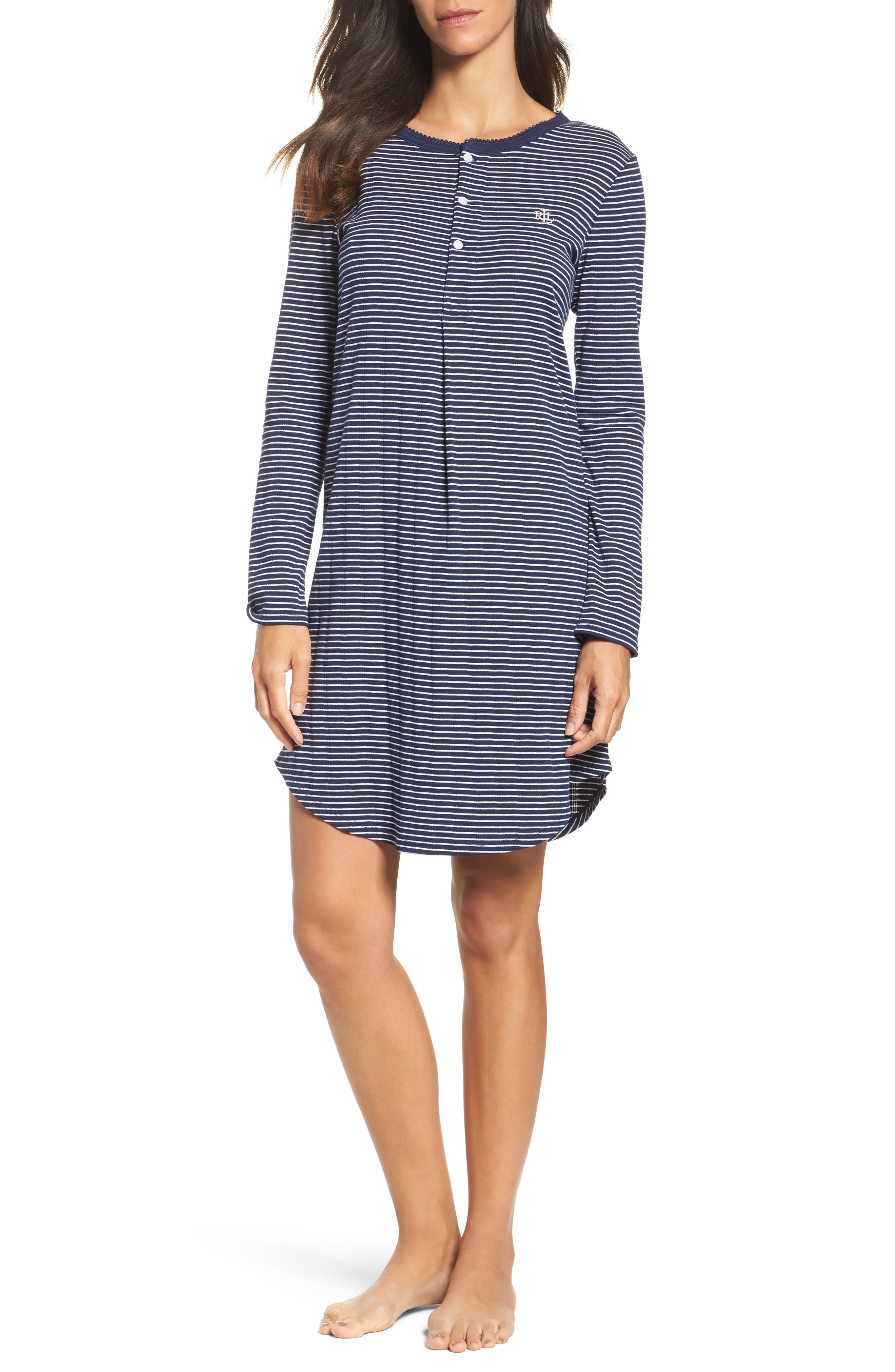 Stripe Henley Sleep Shirt,                         Main,                         color, 405