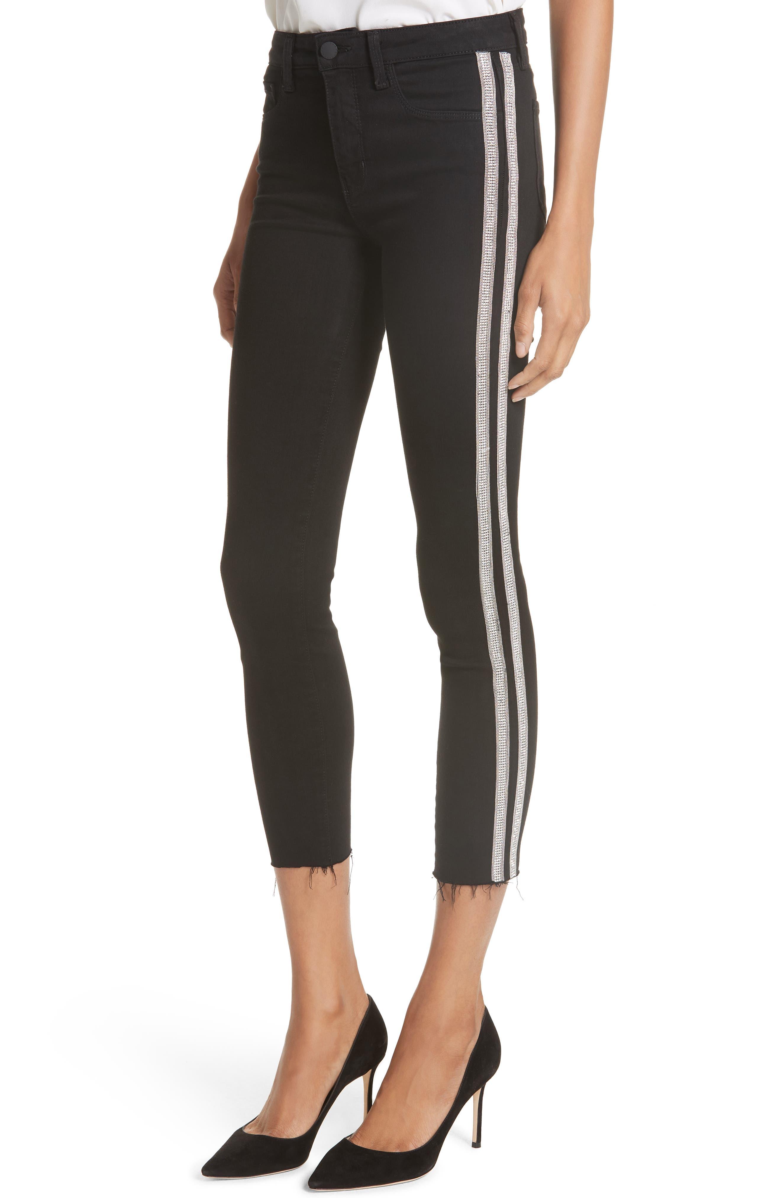 L'AGENCE,                             Margot Embellished Side Stripe Crop Skinny Jeans,                             Alternate thumbnail 4, color,                             NOIR