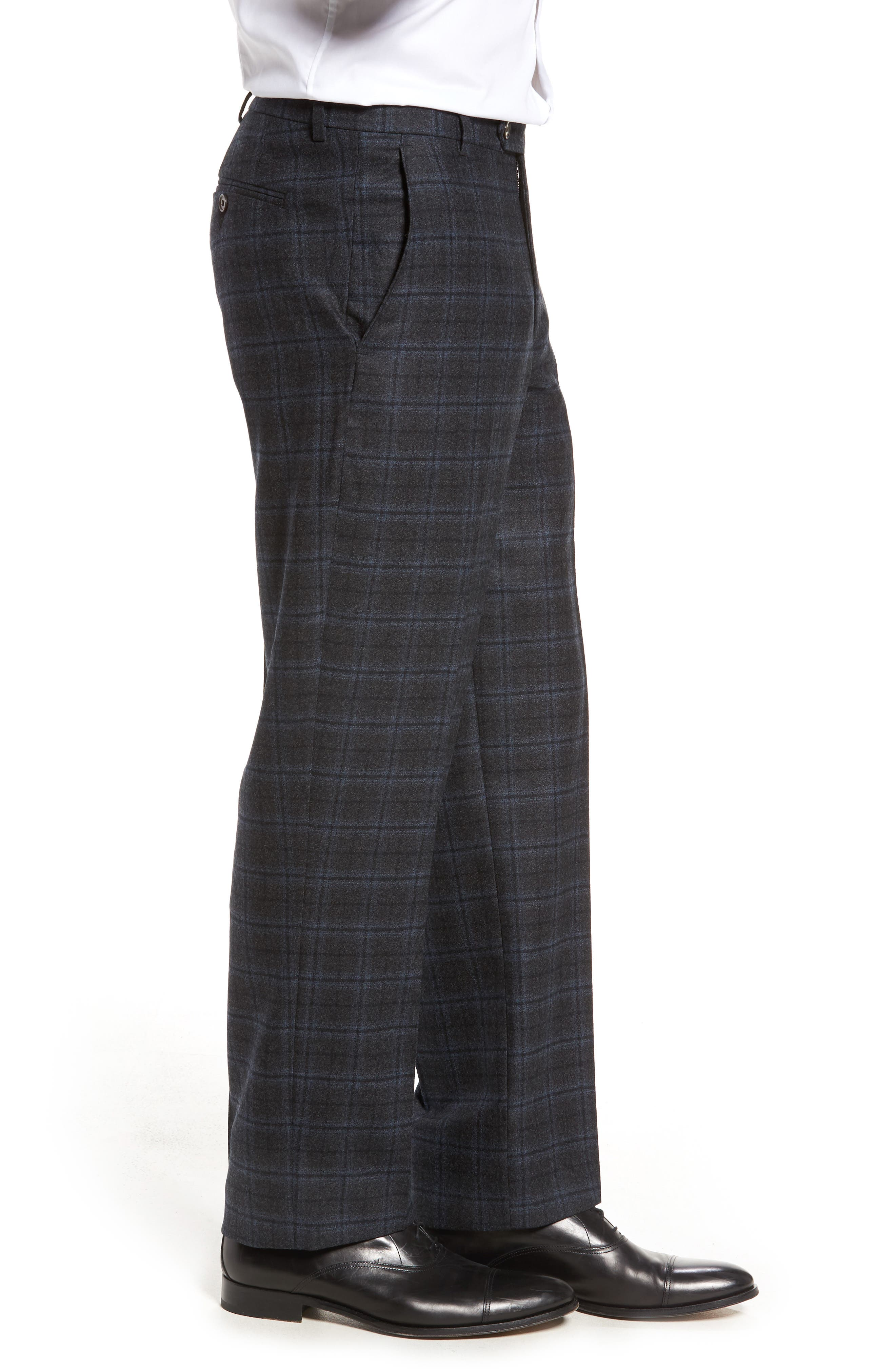 Flat Front Windowpane Wool Trousers,                             Alternate thumbnail 4, color,