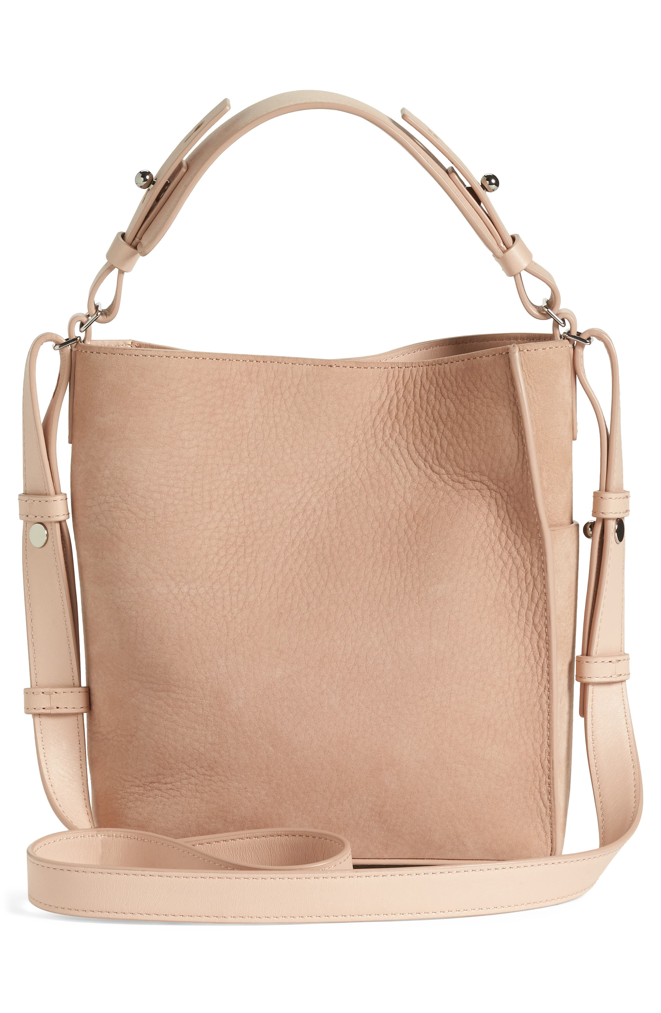 Mini Mast Leather North/South Tote,                             Alternate thumbnail 4, color,                             NUDE PINK