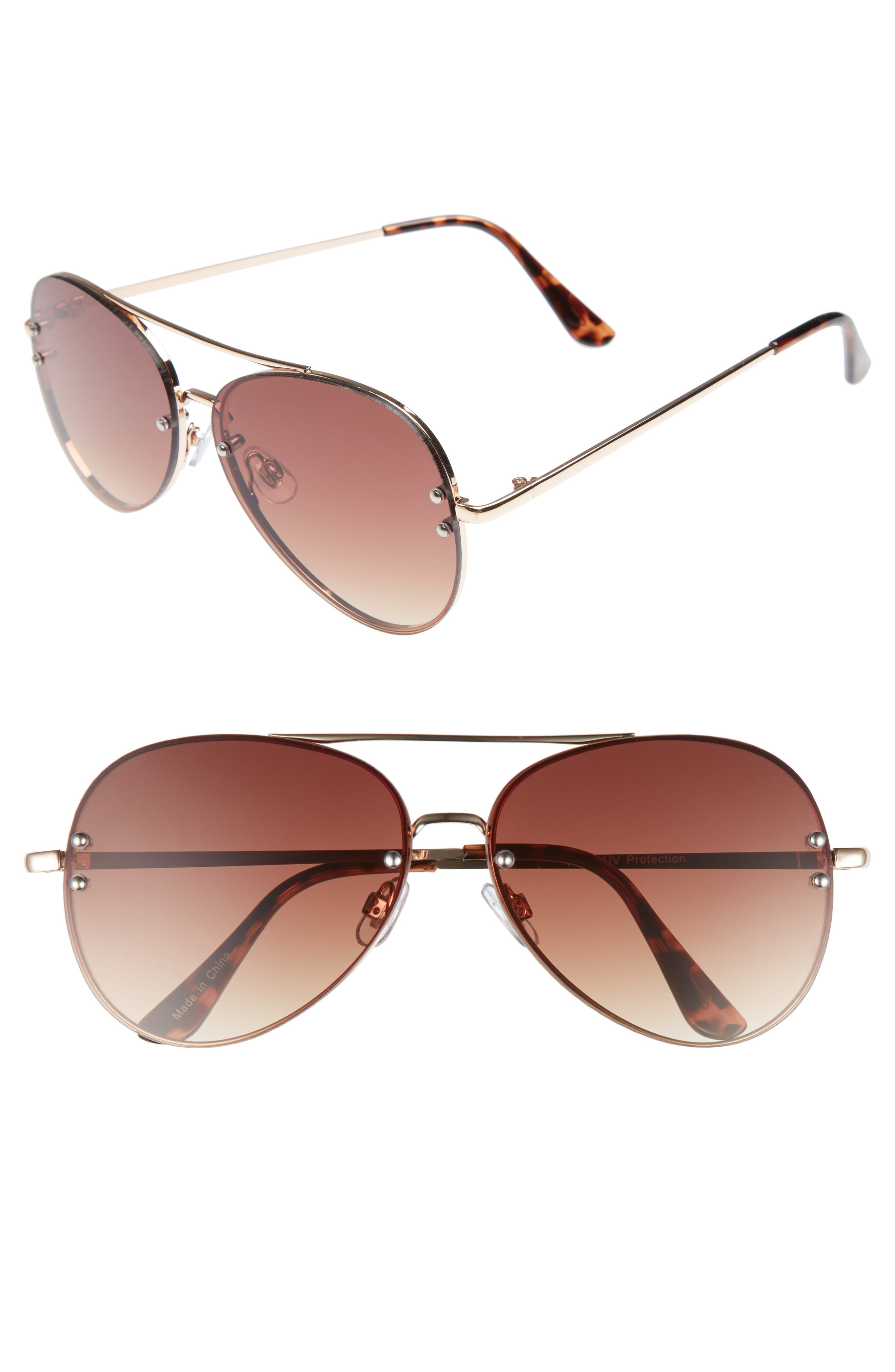 60mm Oversize Mirrored Aviator Sunglasses,                             Main thumbnail 1, color,                             GOLD/ BROWN