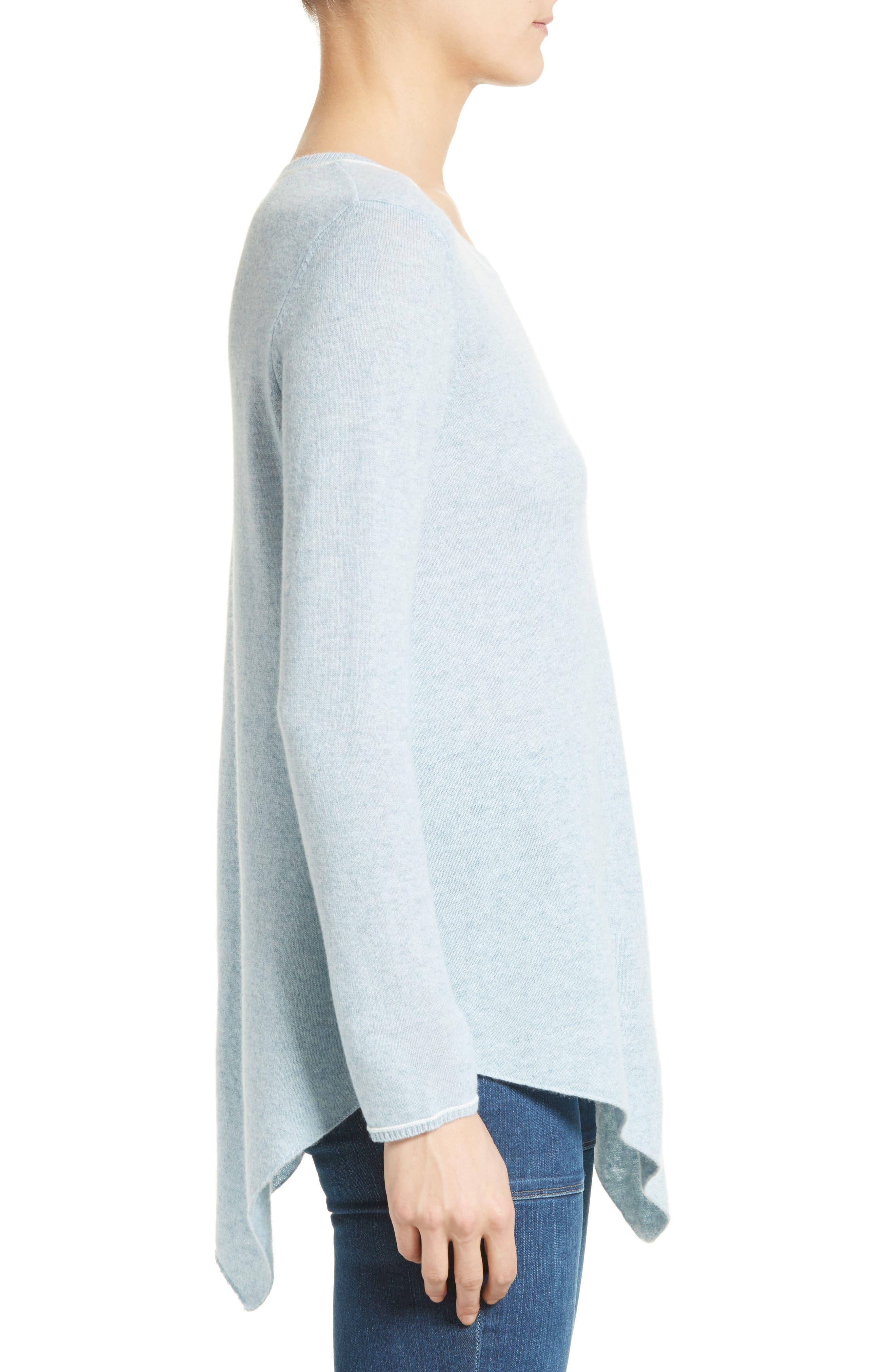 Tambrel H Asymmetrical Hem Cashmere Sweater,                             Alternate thumbnail 3, color,                             400