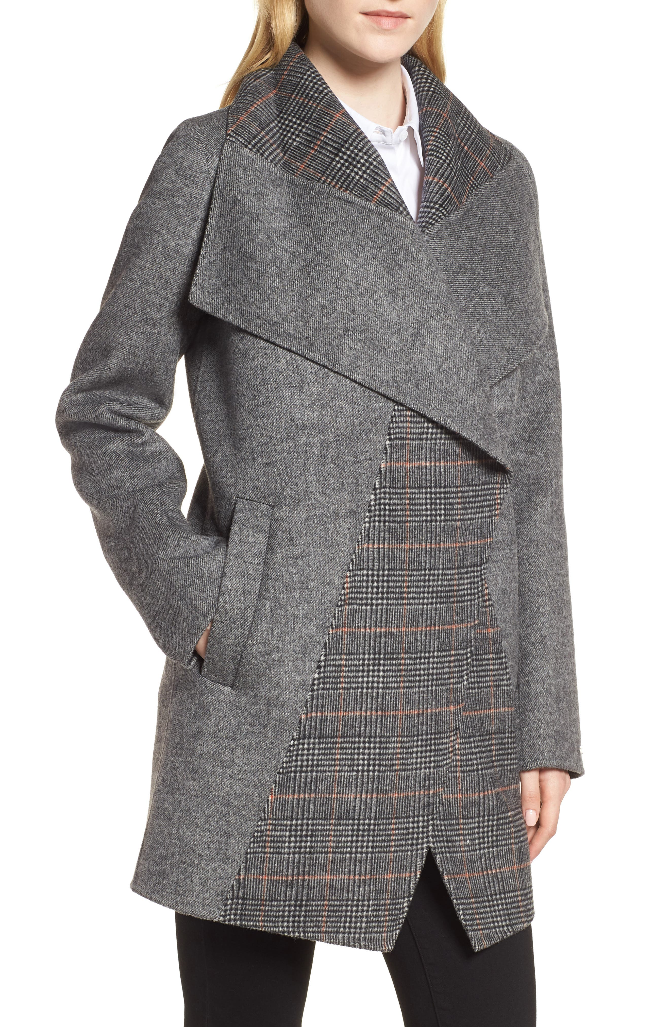 Nicky Double Face Wool Blend Oversize Coat,                             Main thumbnail 1, color,                             GREY COMBO TWILL/ PLAID