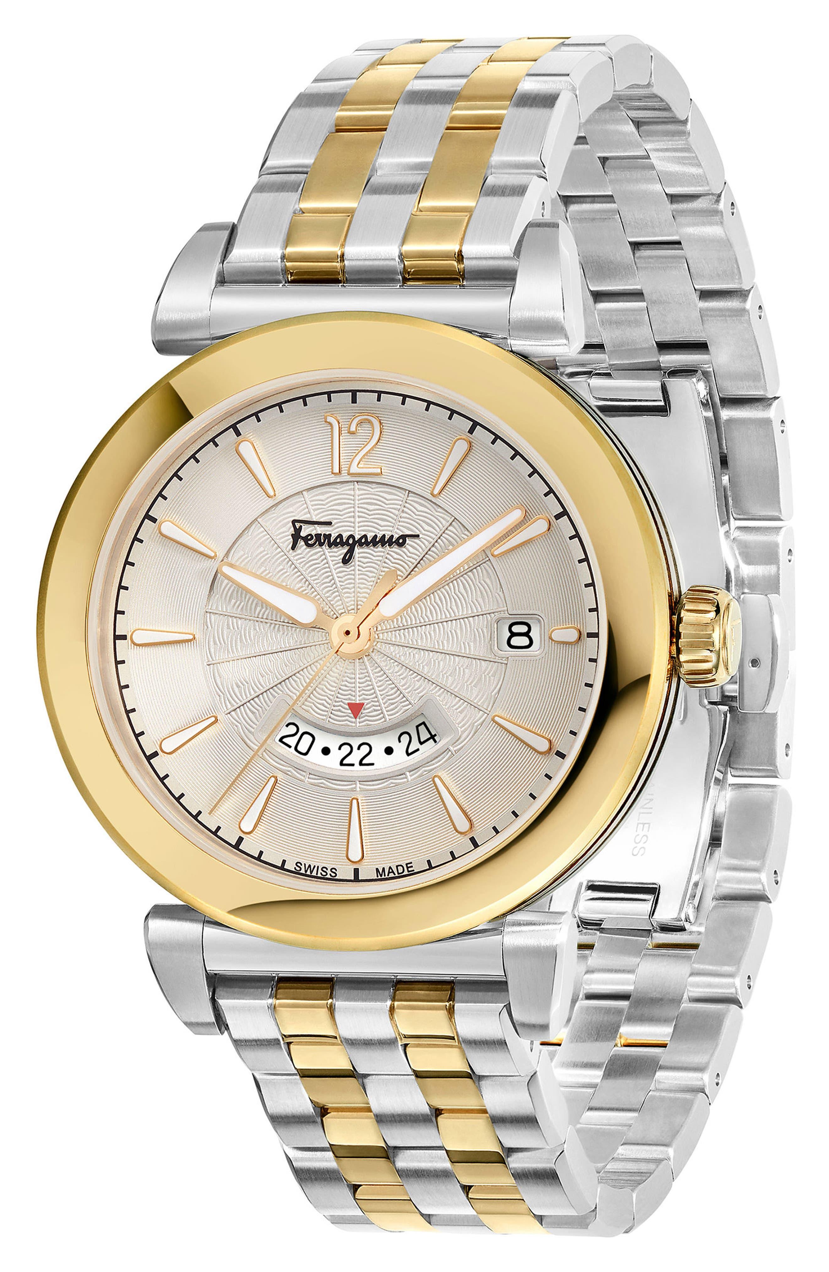SALVATORE FERRAGAMO,                             Feroni Bracelet Watch, 40mm,                             Alternate thumbnail 3, color,                             SILVER/ GOLD