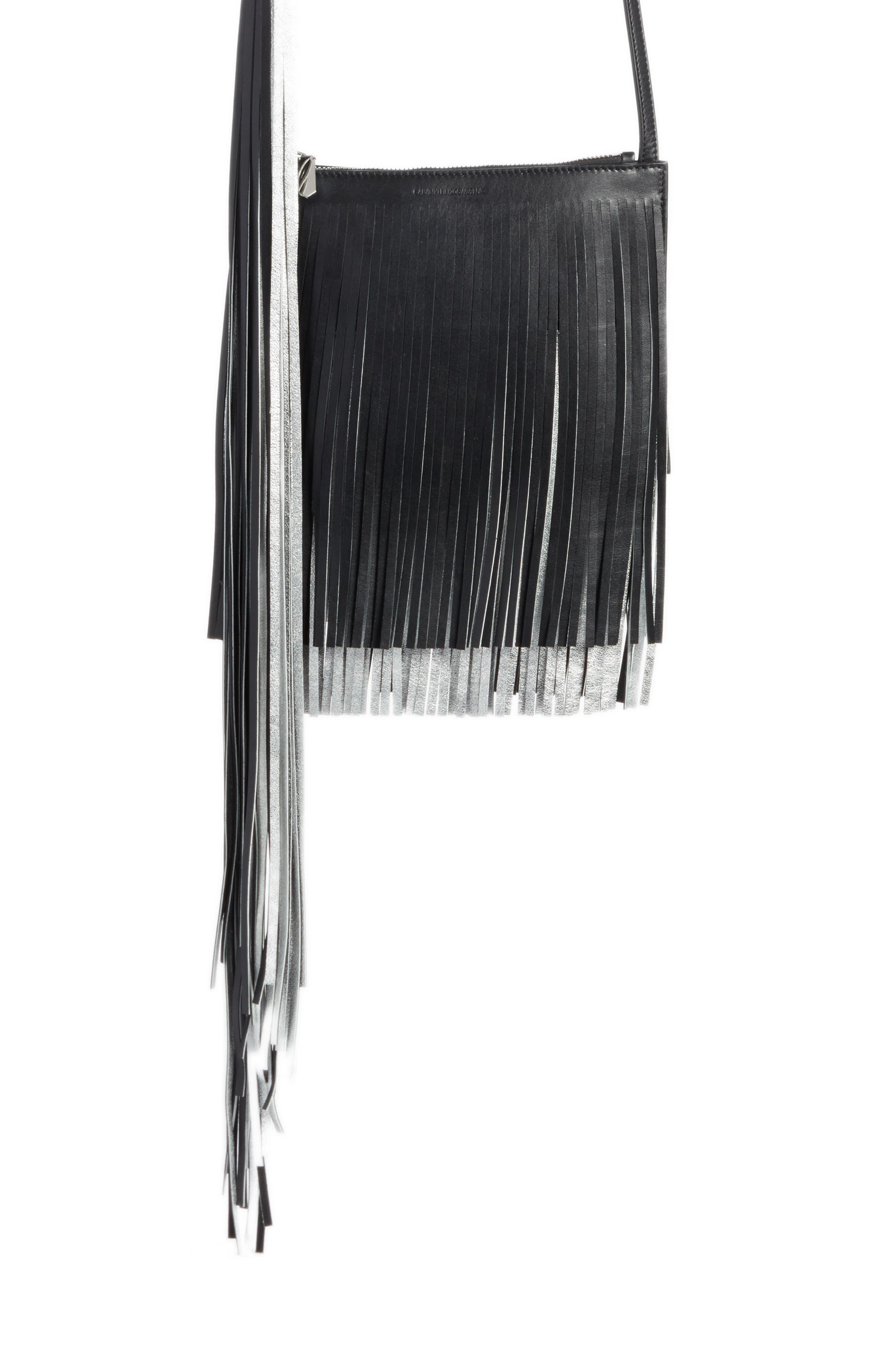 x Layered Fringe Leather Crossbody Bag,                             Main thumbnail 1, color,                             001