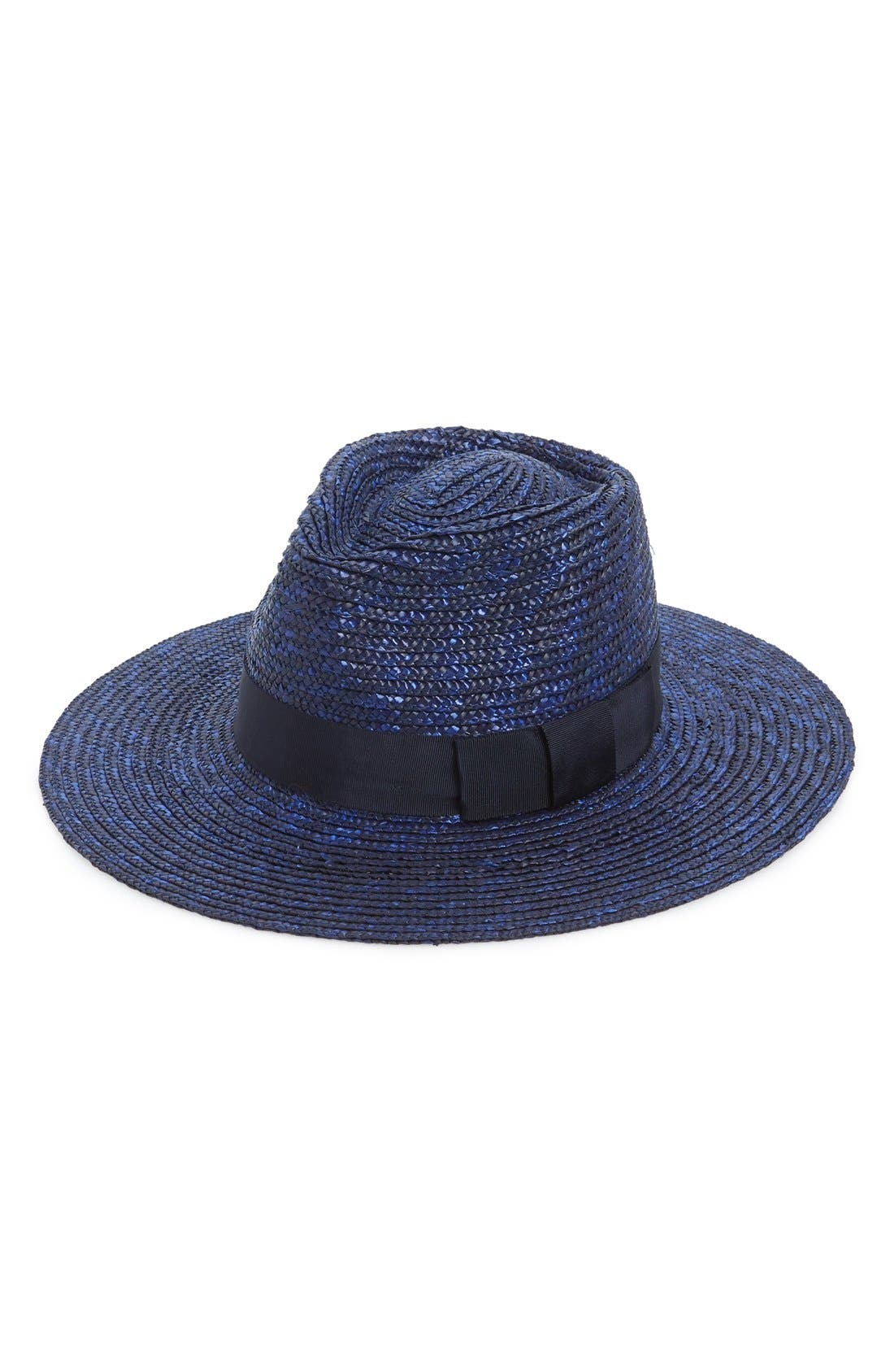 'Joanna' Straw Hat,                         Main,                         color, MIDNIGHT