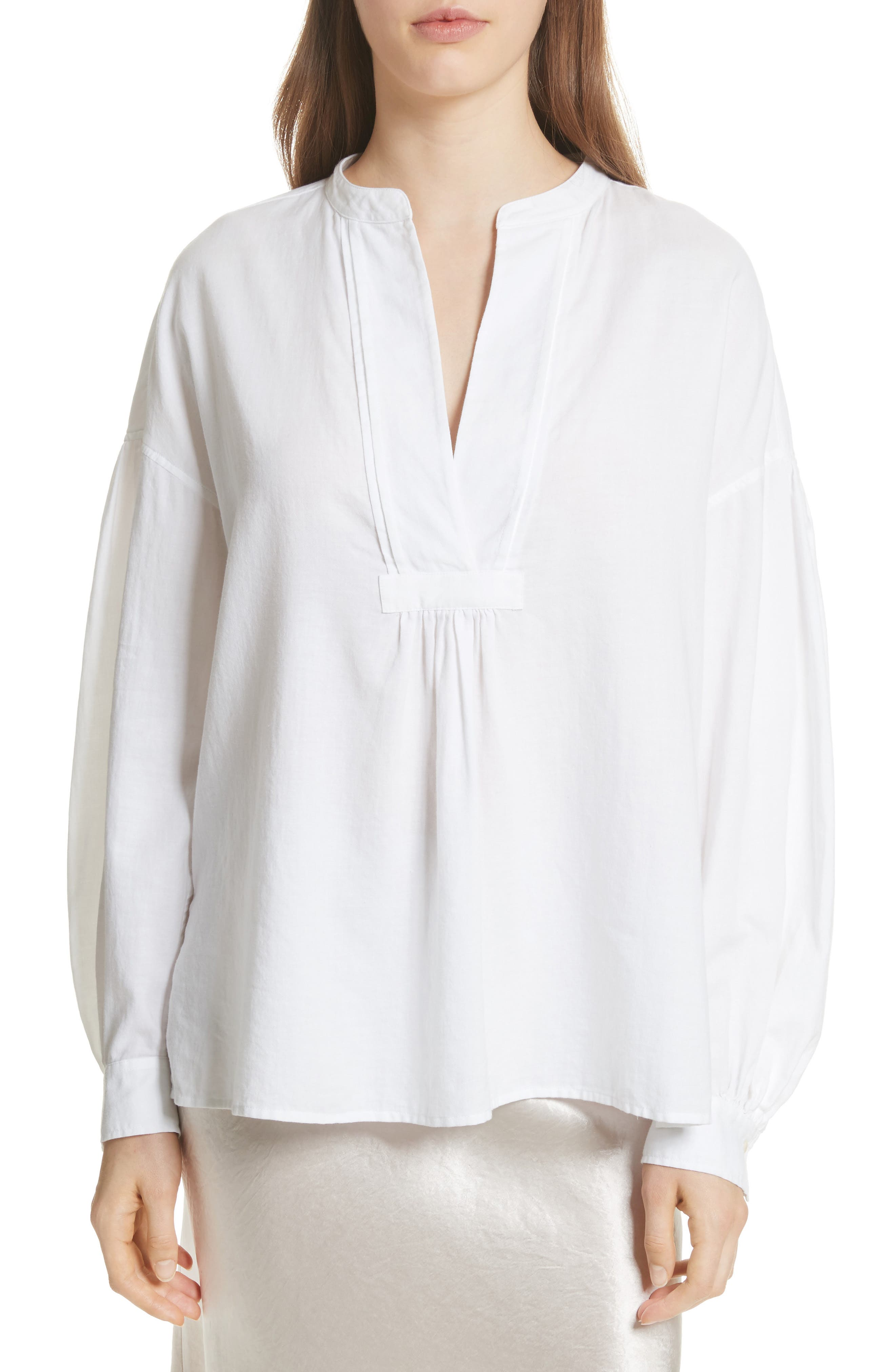 Shirred Cotton Blouse,                             Main thumbnail 2, color,