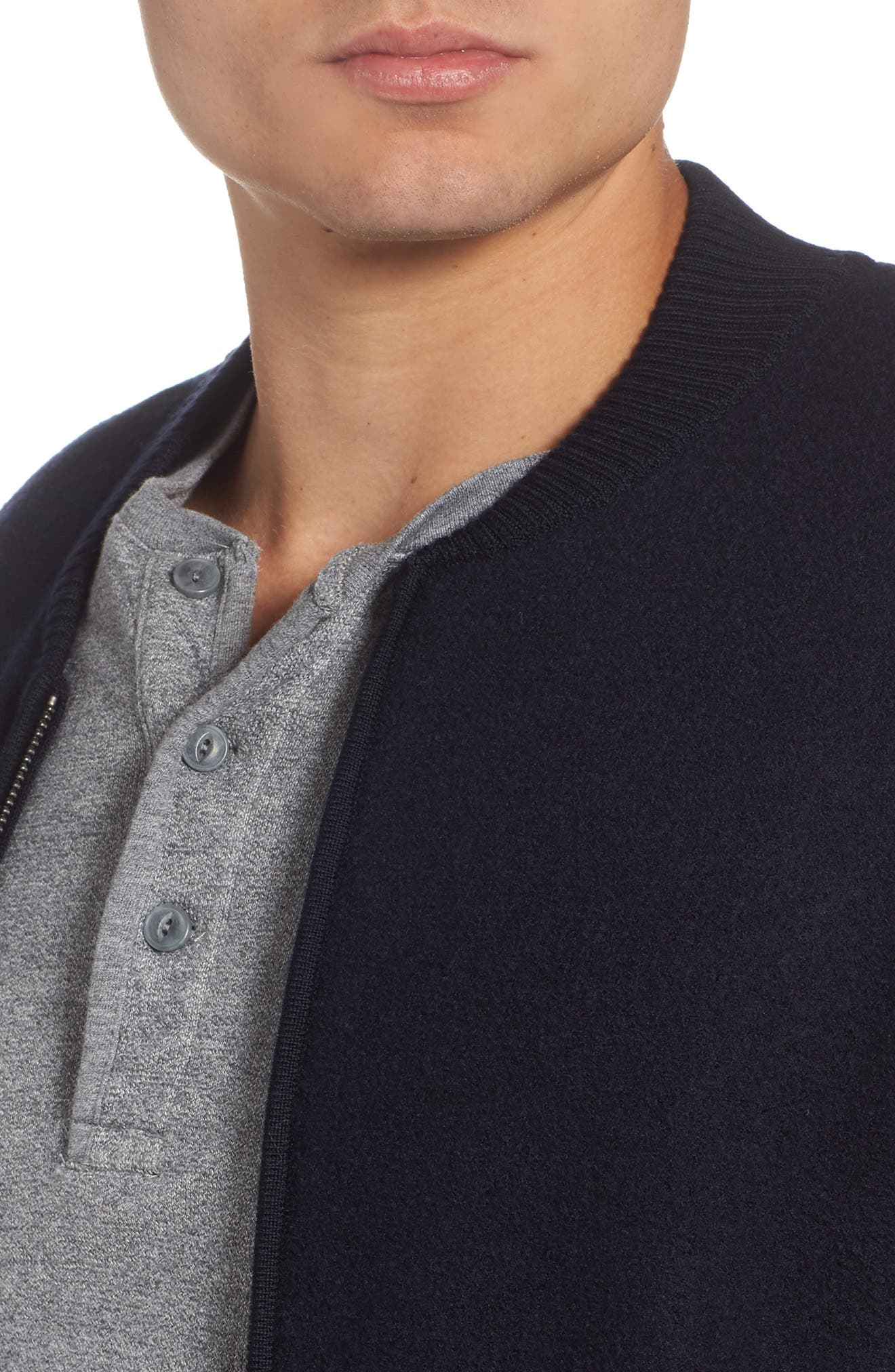 Felted Wool Bomber Jacket,                             Alternate thumbnail 4, color,                             BLUE GRAPHITE