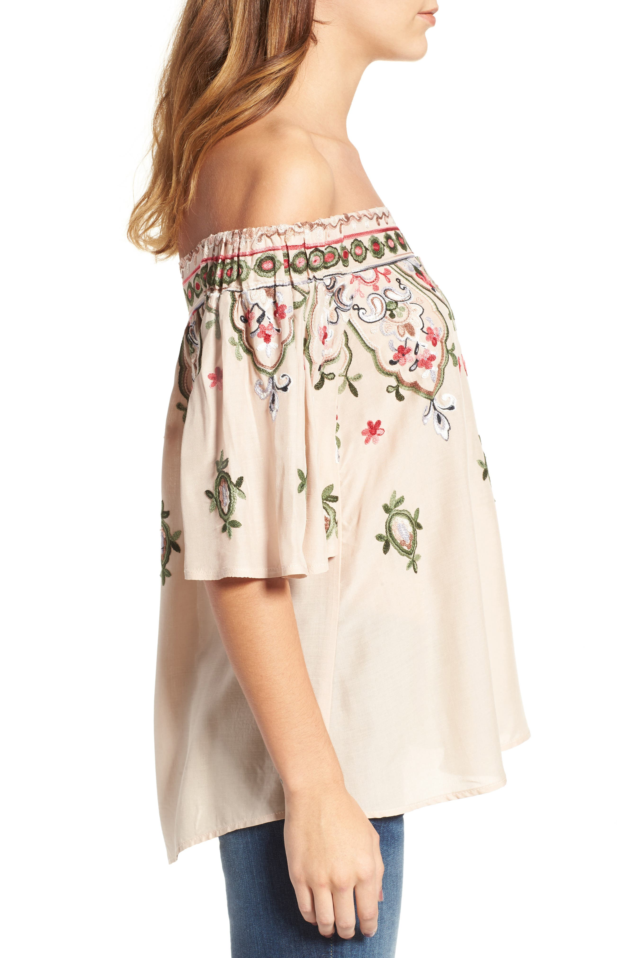Embroidered Off the Shoulder Top,                             Alternate thumbnail 3, color,                             254