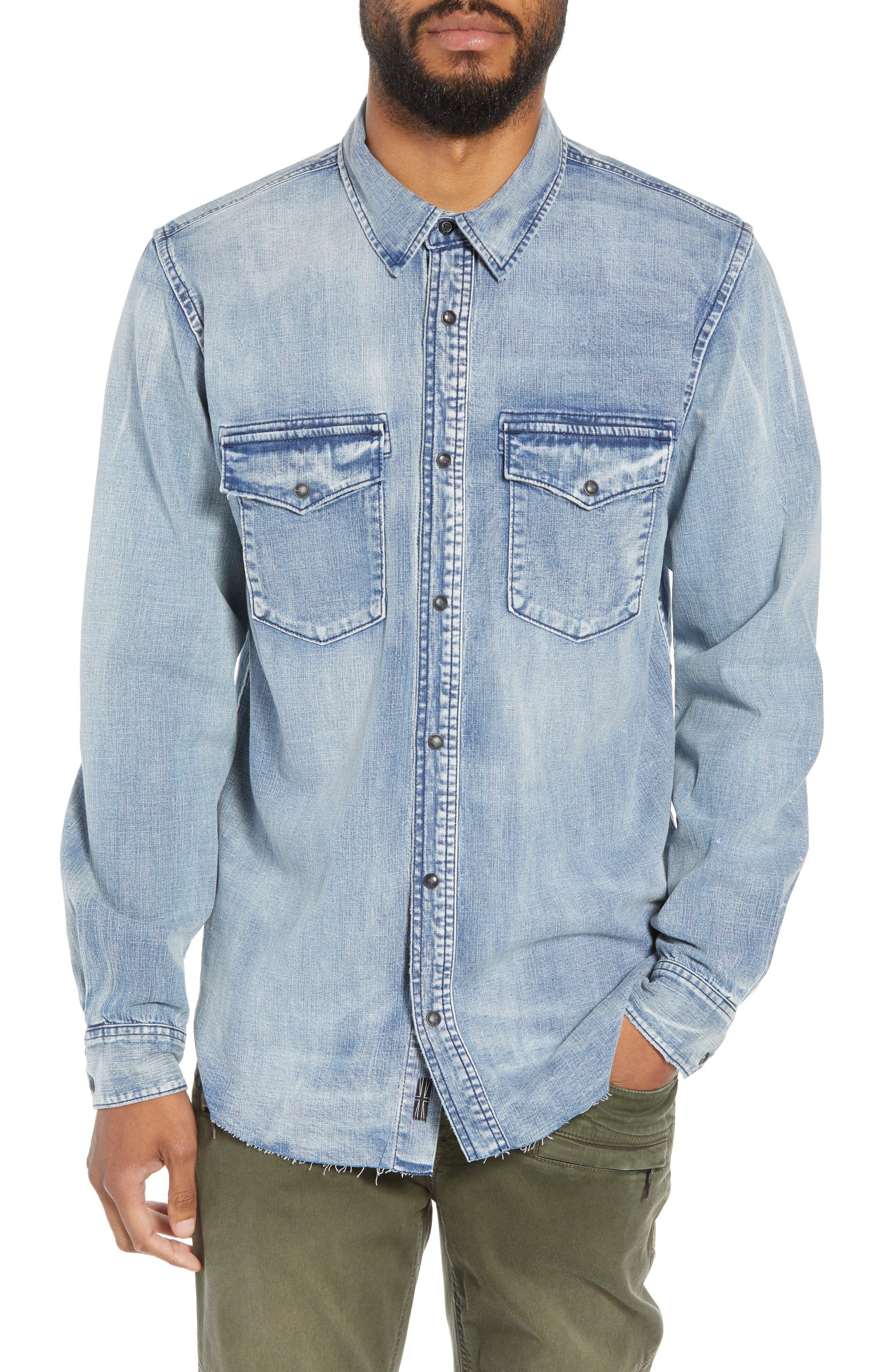 Hudson Regular Fit Denim Shirt,                         Main,                         color, VINTAGE INDIGO